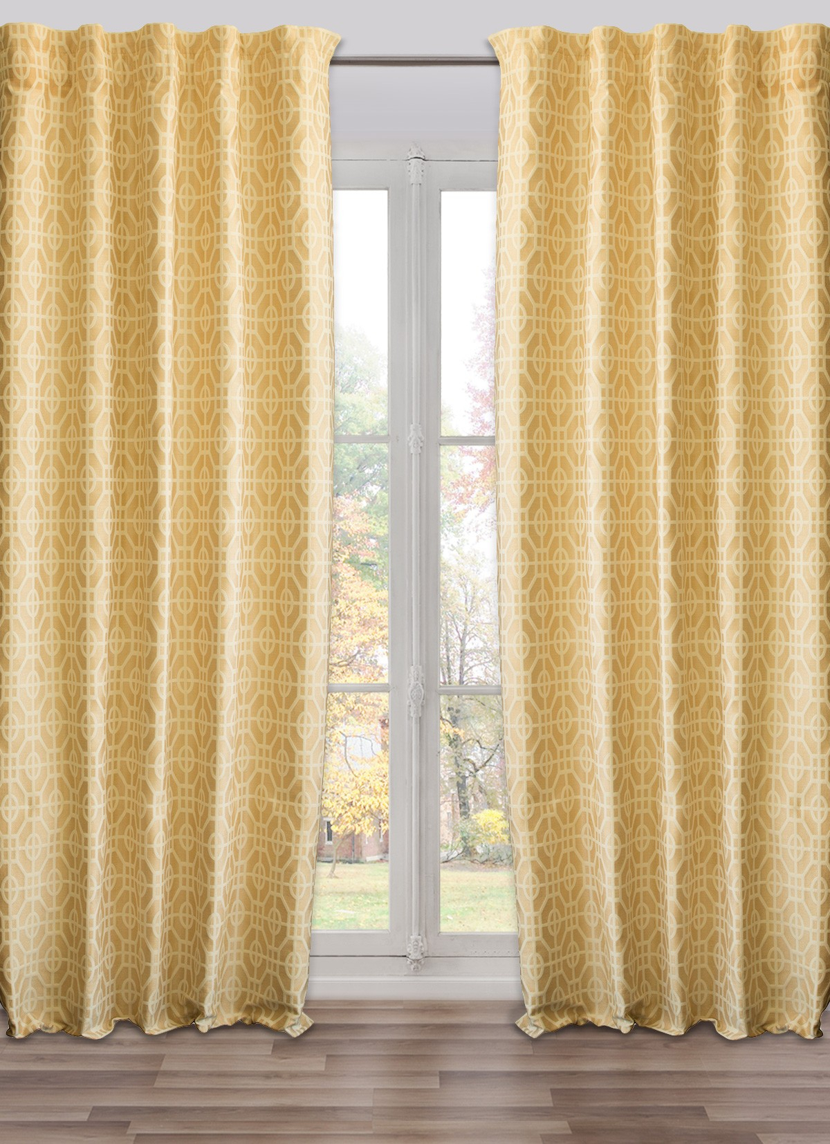 Ready Made, Fully Adjustable Drape Panel Fret Work Yellow   50 X 118 Inches In Fretwork Print Pattern Single Curtain Panels (Photo 17 of 20)