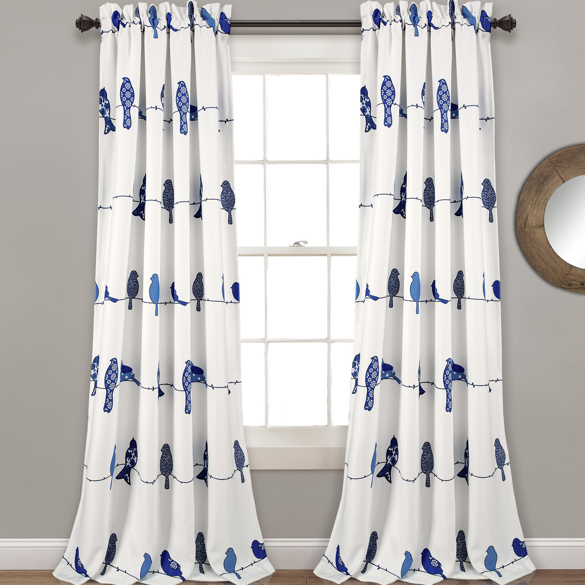 Recio Birds Room Darkening Thermal Rod Pocket Curtain Panels With Wavy Leaves Embroidered Sheer Extra Wide Grommet Curtain Panels (View 22 of 30)