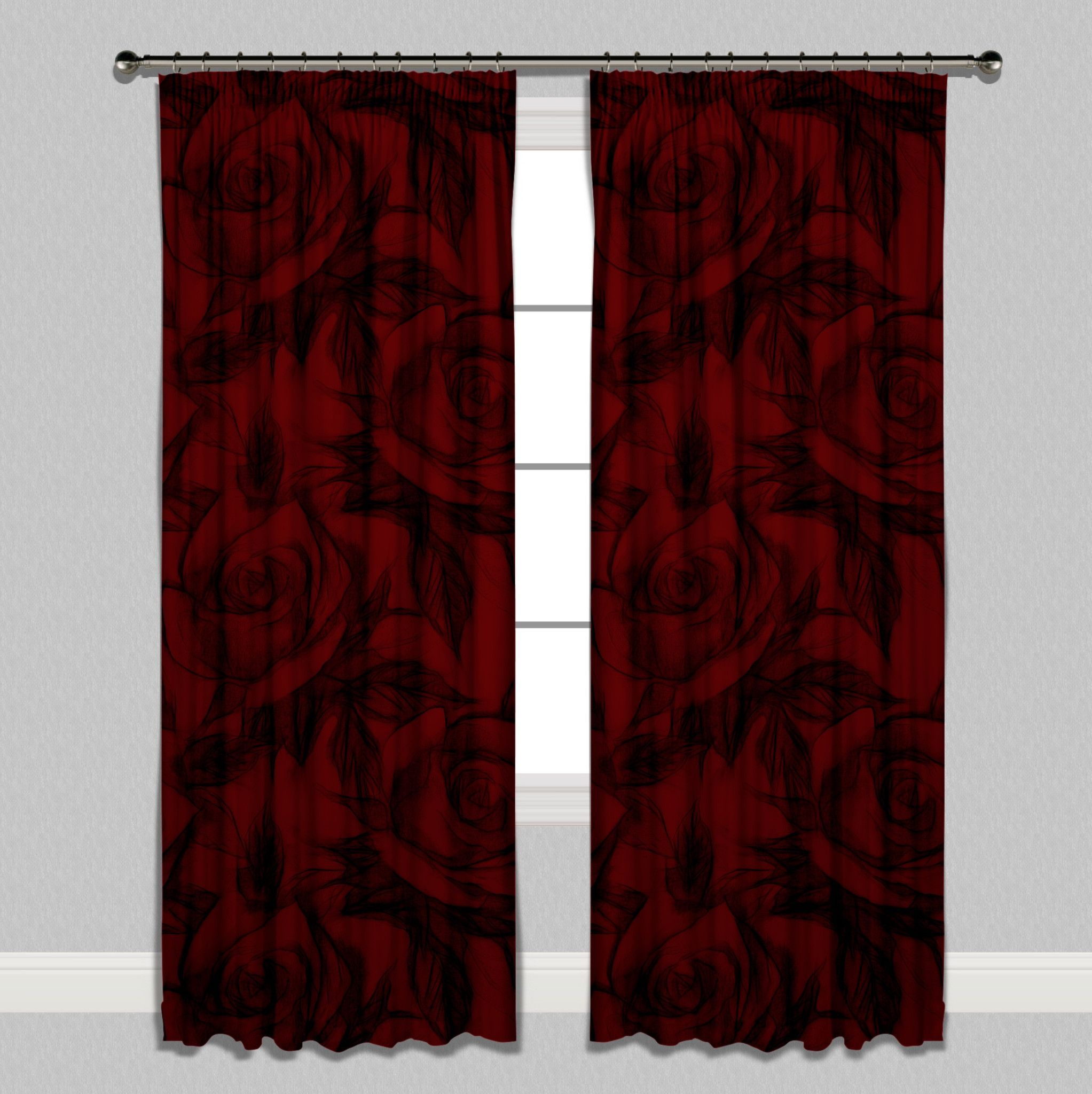 Red And Black Pencil Sketch Rose Curtains | Future Home In Intended For Luxury Collection Monte Carlo Sheer Curtain Panel Pairs (Gallery 19 of 20)