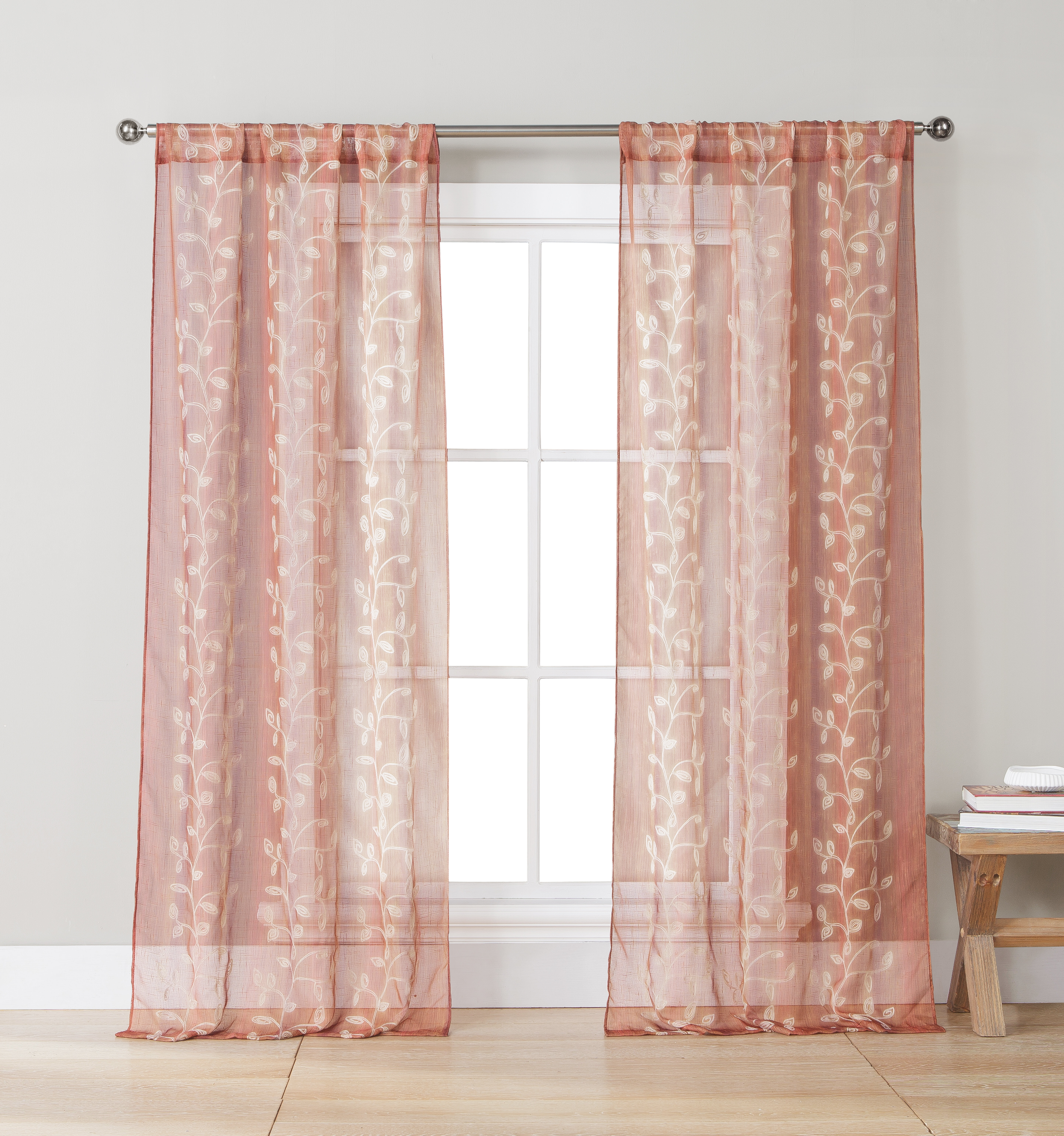 Red Barrel Studio Stenson Embroidered Jaquard Nature/floral Throughout Elegant Comfort Window Sheer Curtain Panel Pairs (Photo 16 of 20)