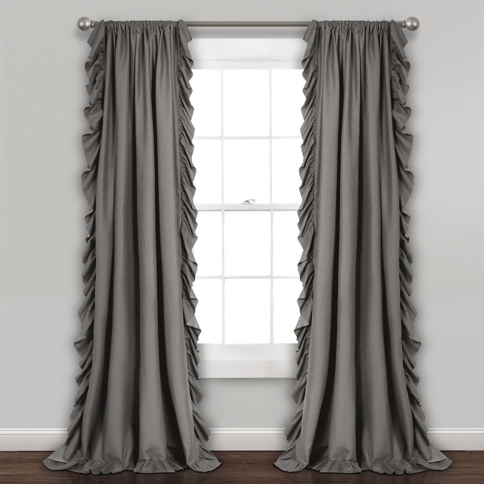 "Reyna Wp Gray Pair, 95""x54"" For Ruffle Diamond Curtain Panel Pairs (View 10 of 20)"