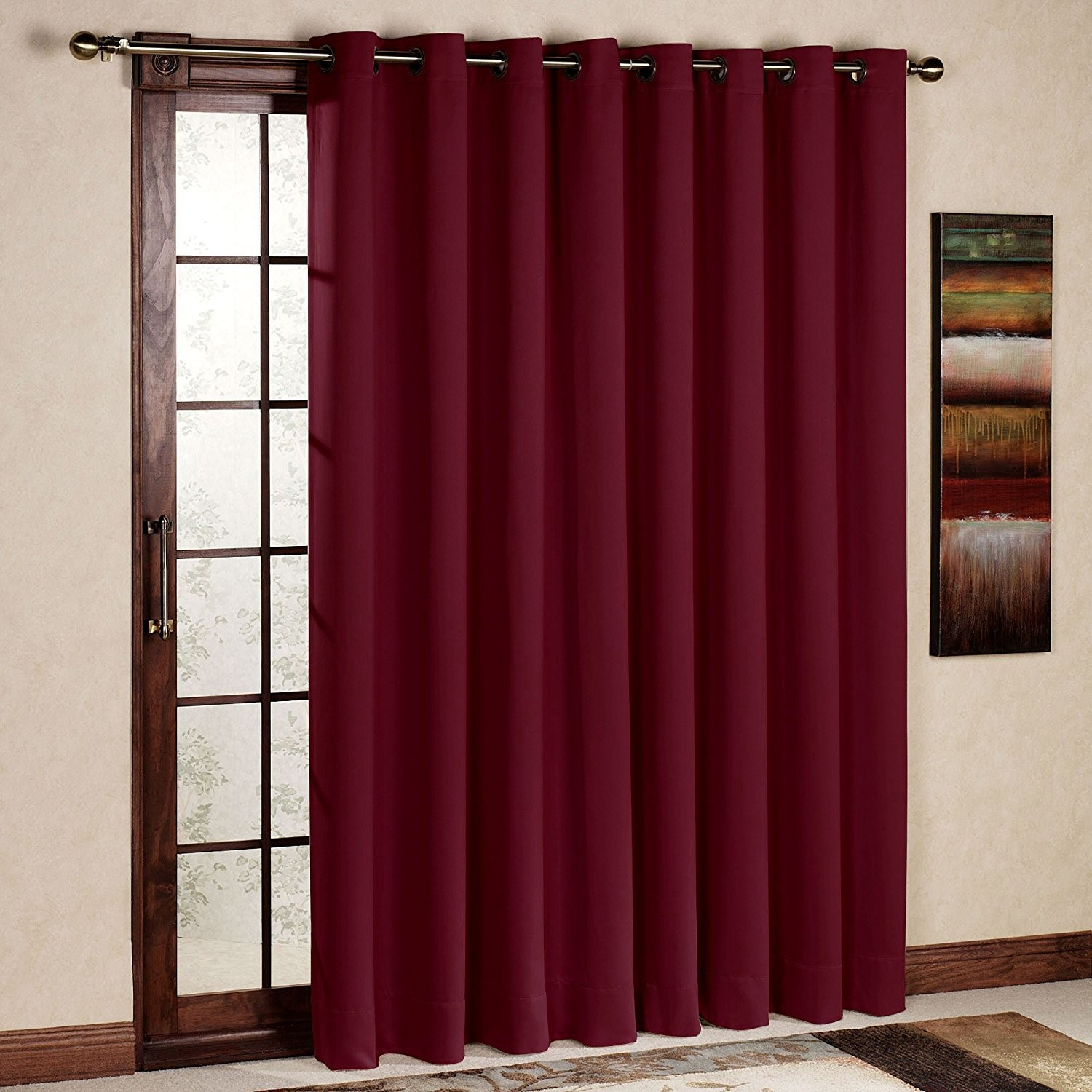 Rhf Wide Thermal Blackout Patio Door Curtain Panel, Sliding Within Grommet Blackout Patio Door Window Curtain Panels (Gallery 7 of 20)