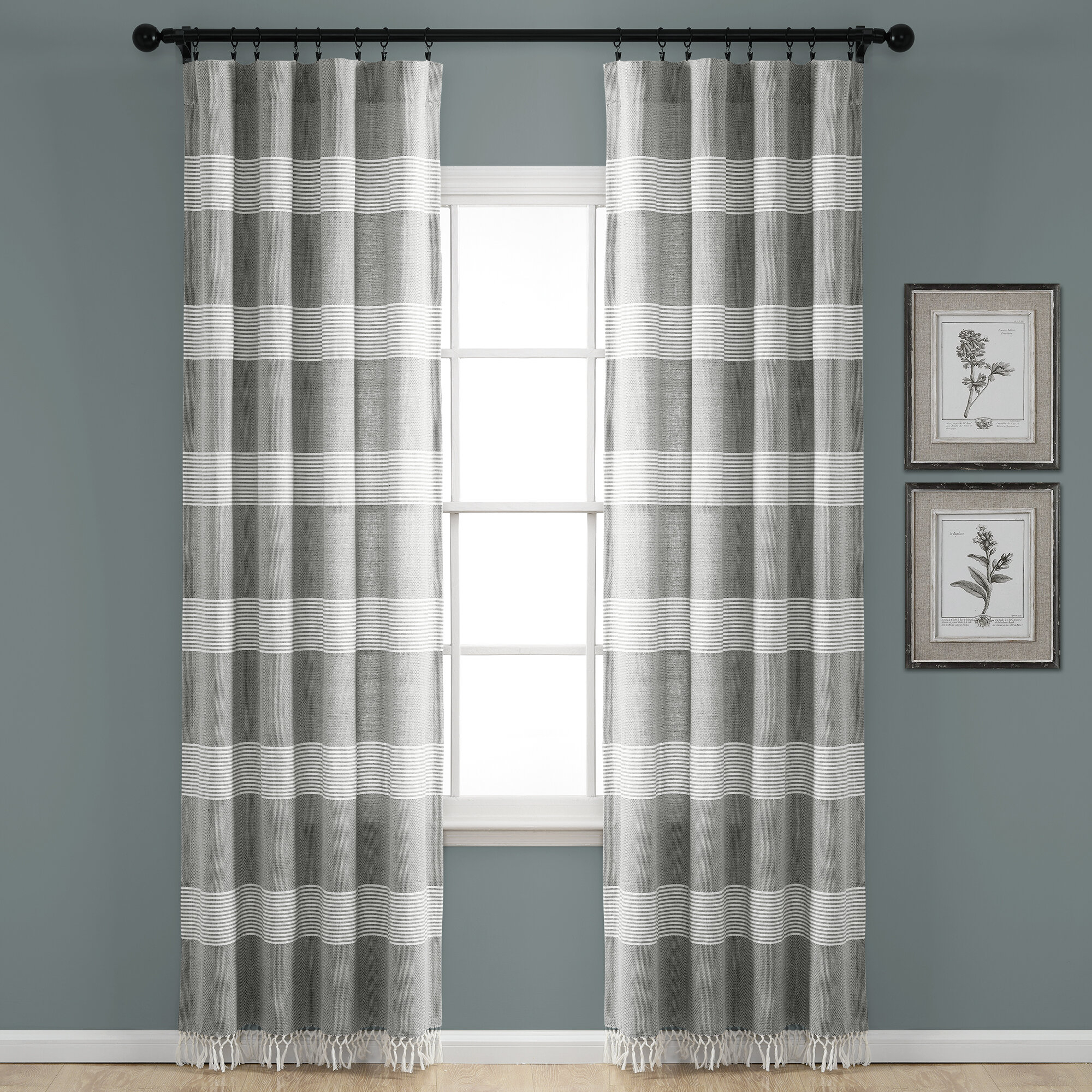 Rhys Tucker Yarn Dyed Knotted Tassel Window Striped Rod Pocket Curtain Panels With Regard To Tassels Applique Sheer Rod Pocket Top Curtain Panel Pairs (View 14 of 30)