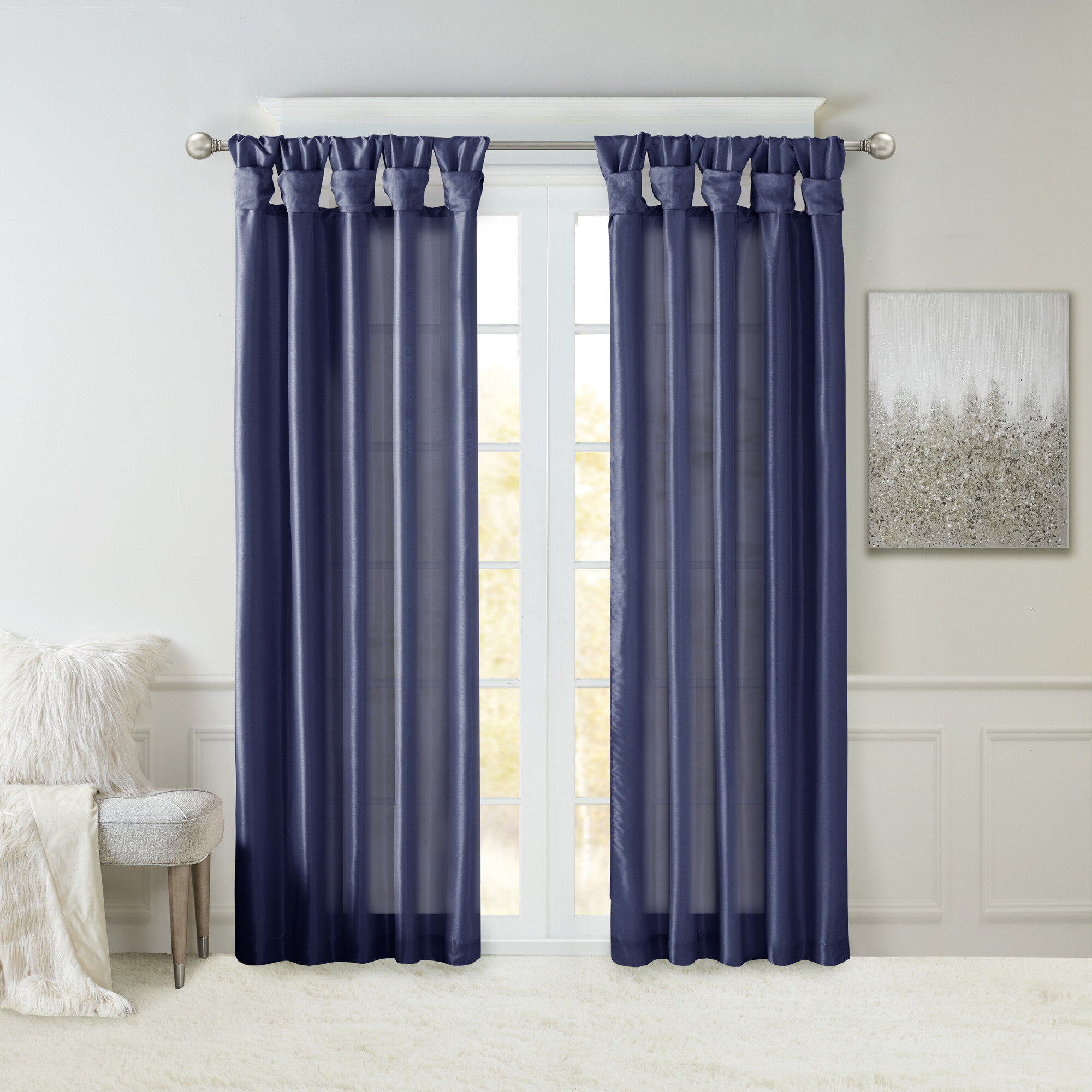 Rivau Solid Tab Top Single Curtain Panel Inside Tassels Applique Sheer Rod Pocket Top Curtain Panel Pairs (Gallery 22 of 30)