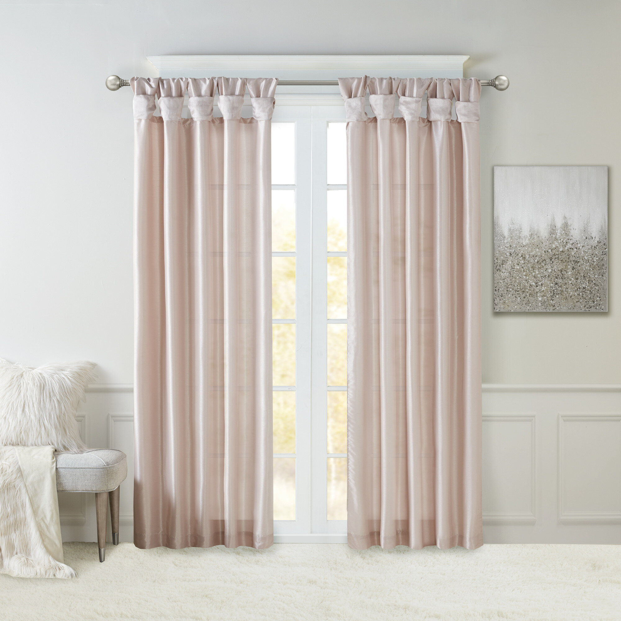 Rivau Solid Tab Top Single Curtain Panel Pertaining To Tassels Applique Sheer Rod Pocket Top Curtain Panel Pairs (View 25 of 30)