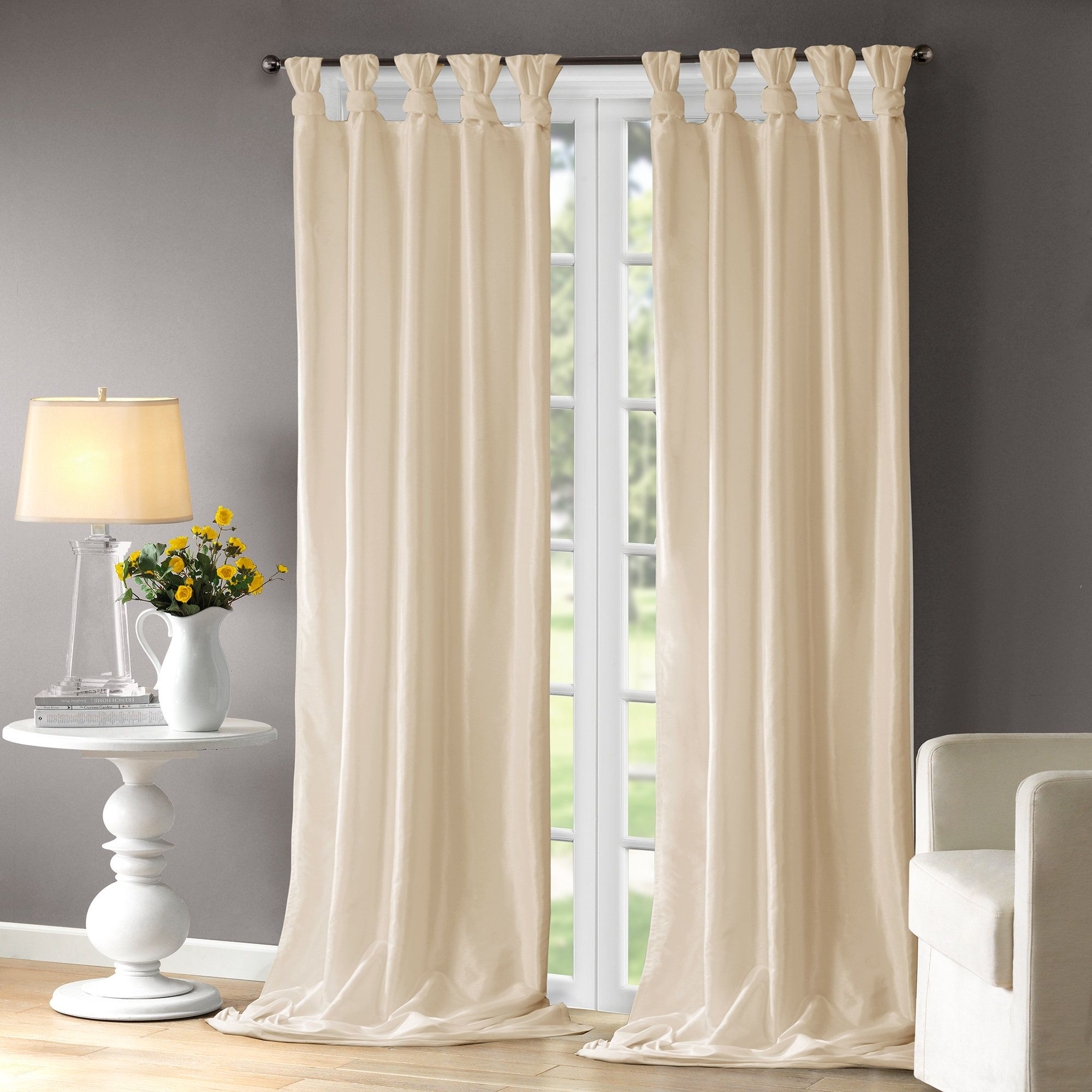 Rivau Solid Tab Top Single Curtain Panel | Window Treatments Intended For Tab Top Sheer Single Curtain Panels (View 25 of 30)