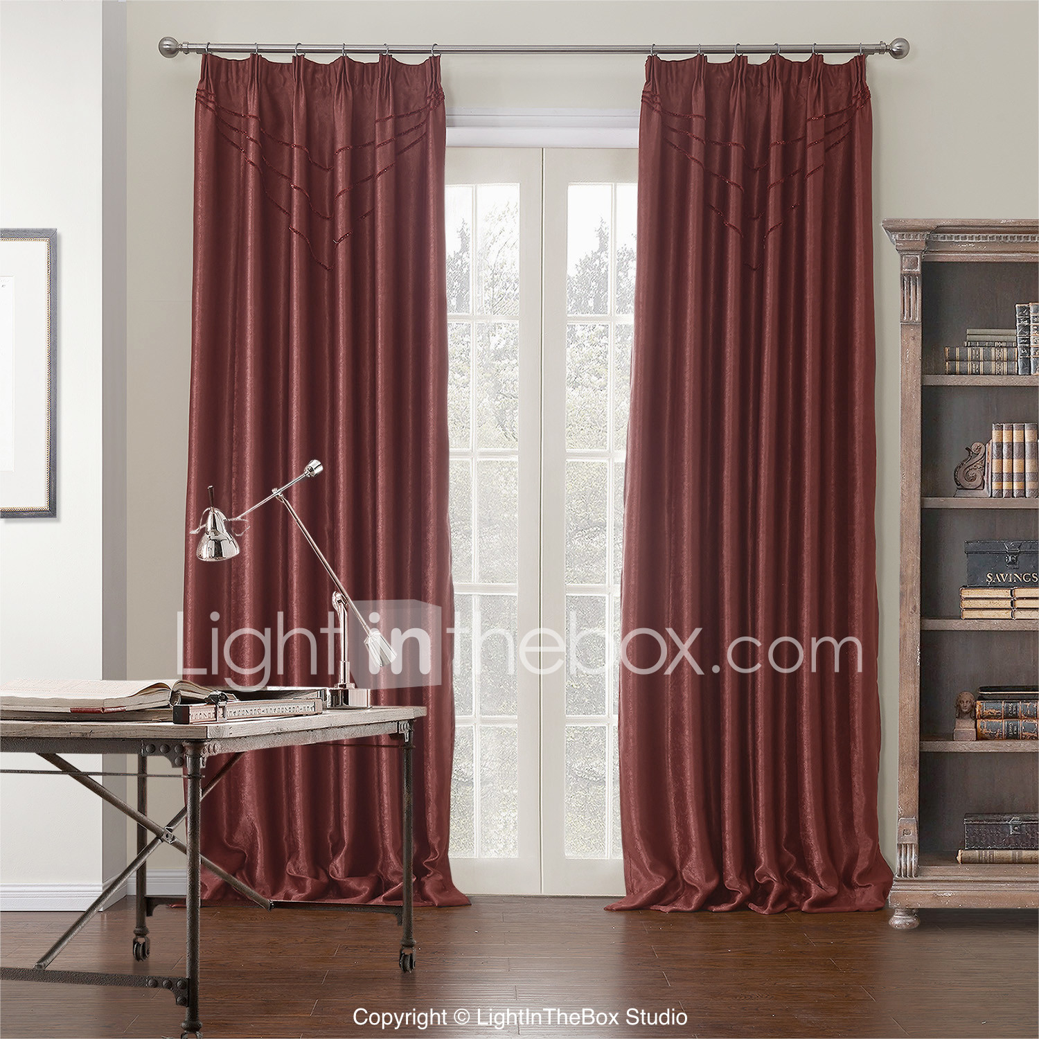 Rod Pocket Grommet Top Tab Top Double Pleated Two Panels In Solid Cotton Pleated Curtains (Gallery 28 of 30)