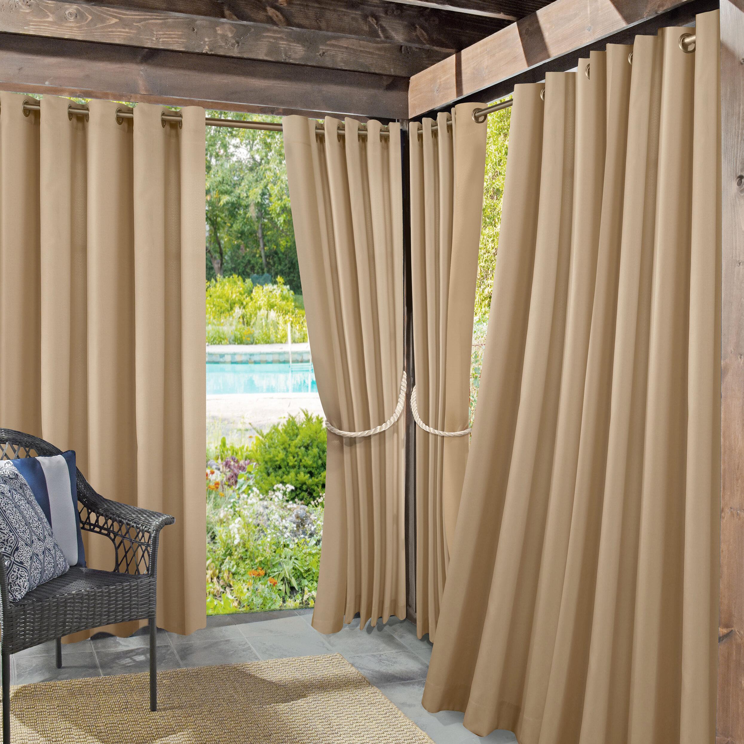 Roku Solid Room Darkening Outdoor Grommet Single Curtain Panel With Regard To Valencia Cabana Stripe Indoor/outdoor Curtain Panels (Gallery 25 of 30)