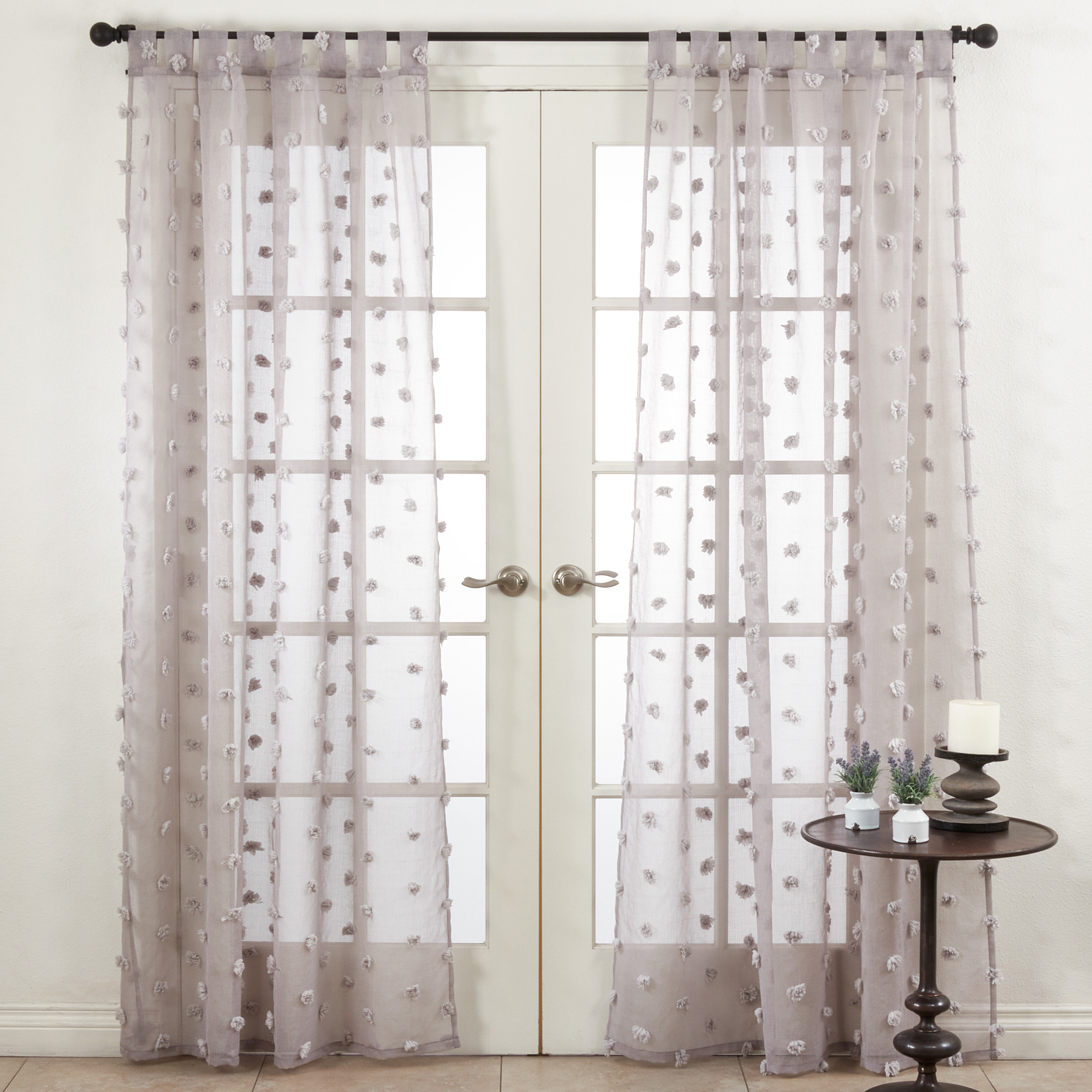 Rosdorf Park Yorba Window Solid Color Semi Sheer Single Regarding Wavy Leaves Embroidered Sheer Extra Wide Grommet Curtain Panels (View 17 of 30)