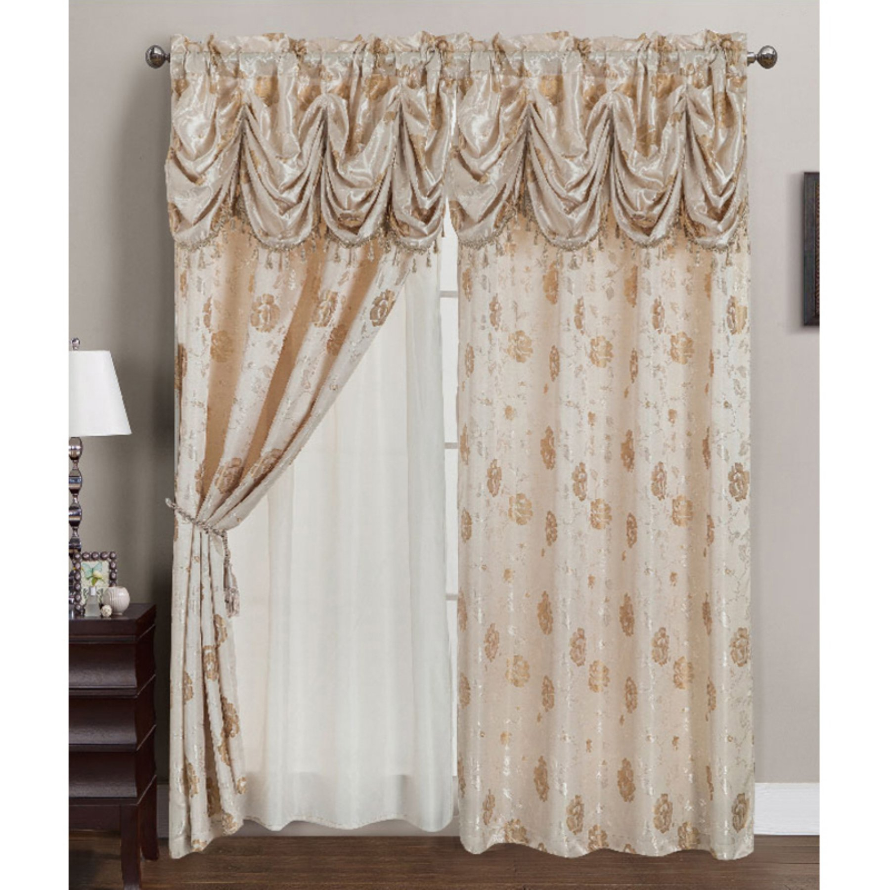 Rt Designers Collection Kelly Jacquard Double Rod Pocket Pertaining To Elegant Comfort Luxury Penelopie Jacquard Window Curtain Panel Pairs (View 9 of 20)