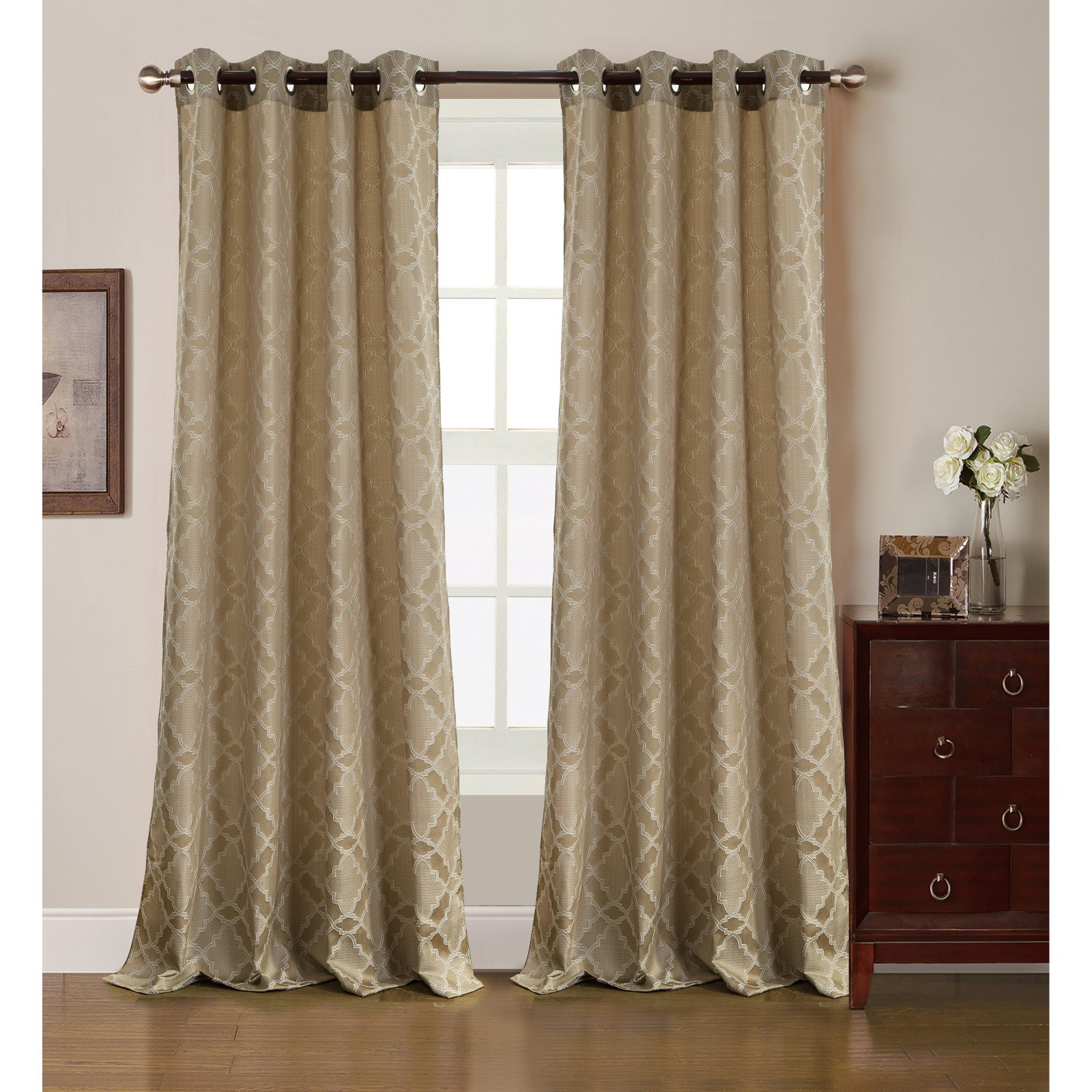 Rt Designers Collection Morgan Jacquard Grommet Curtain For Gracewood Hollow Tucakovic Energy Efficient Fabric Blackout Curtains (View 6 of 20)
