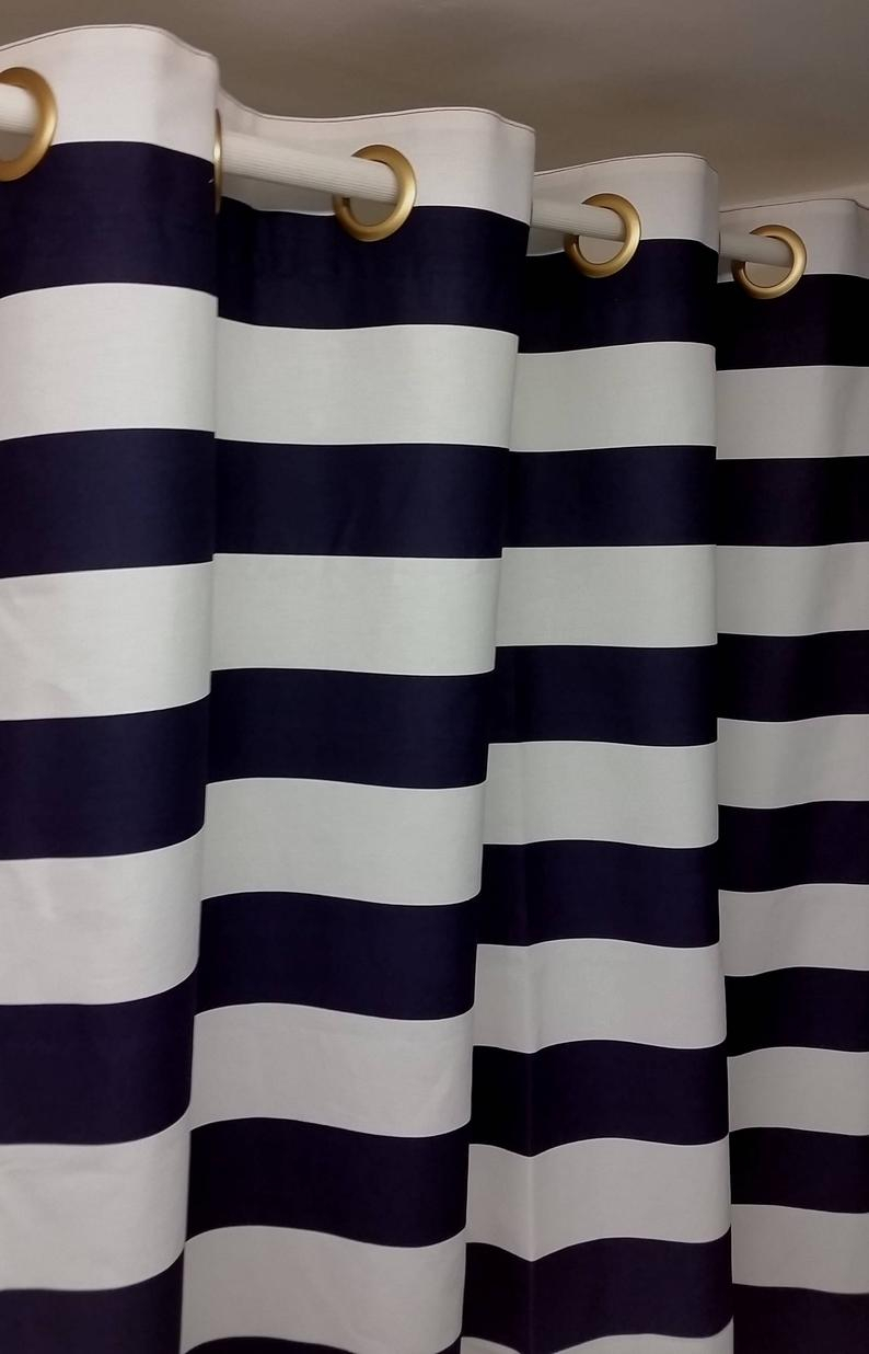 "Rts, Pair 50w X 108l Grommet Lined Curtain Panels Drapes, Horizontal 3"" Stripes Navy Blue And White Cotton Within Ocean Striped Window Curtain Panel Pairs With Grommet Top (View 17 of 20)"