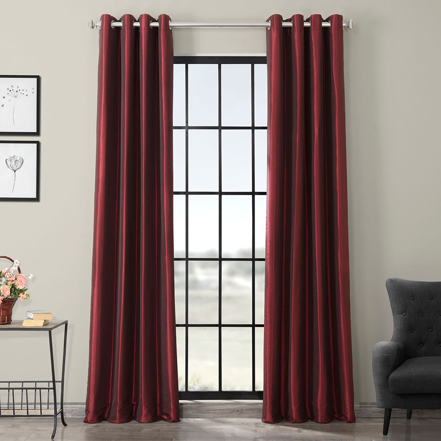 Ruby Grommet Blackout Vintage Textured Faux Dupioni Silk Curtain With Regard To Vintage Faux Textured Dupioni Silk Curtain Panels (Gallery 16 of 30)