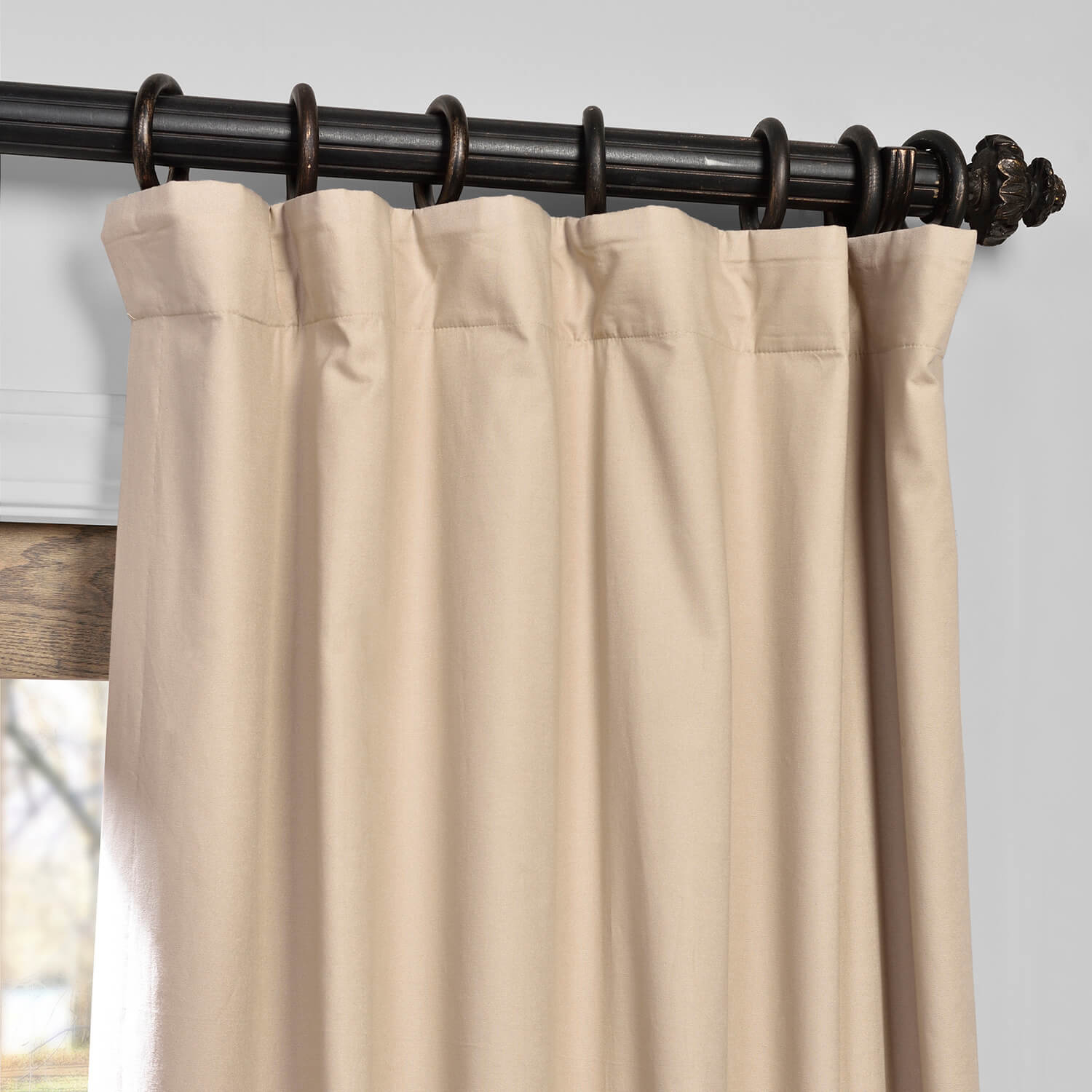 Rugged Tan Solid Cotton Blackout Curtain Pertaining To Solid Cotton True Blackout Curtain Panels (View 9 of 30)