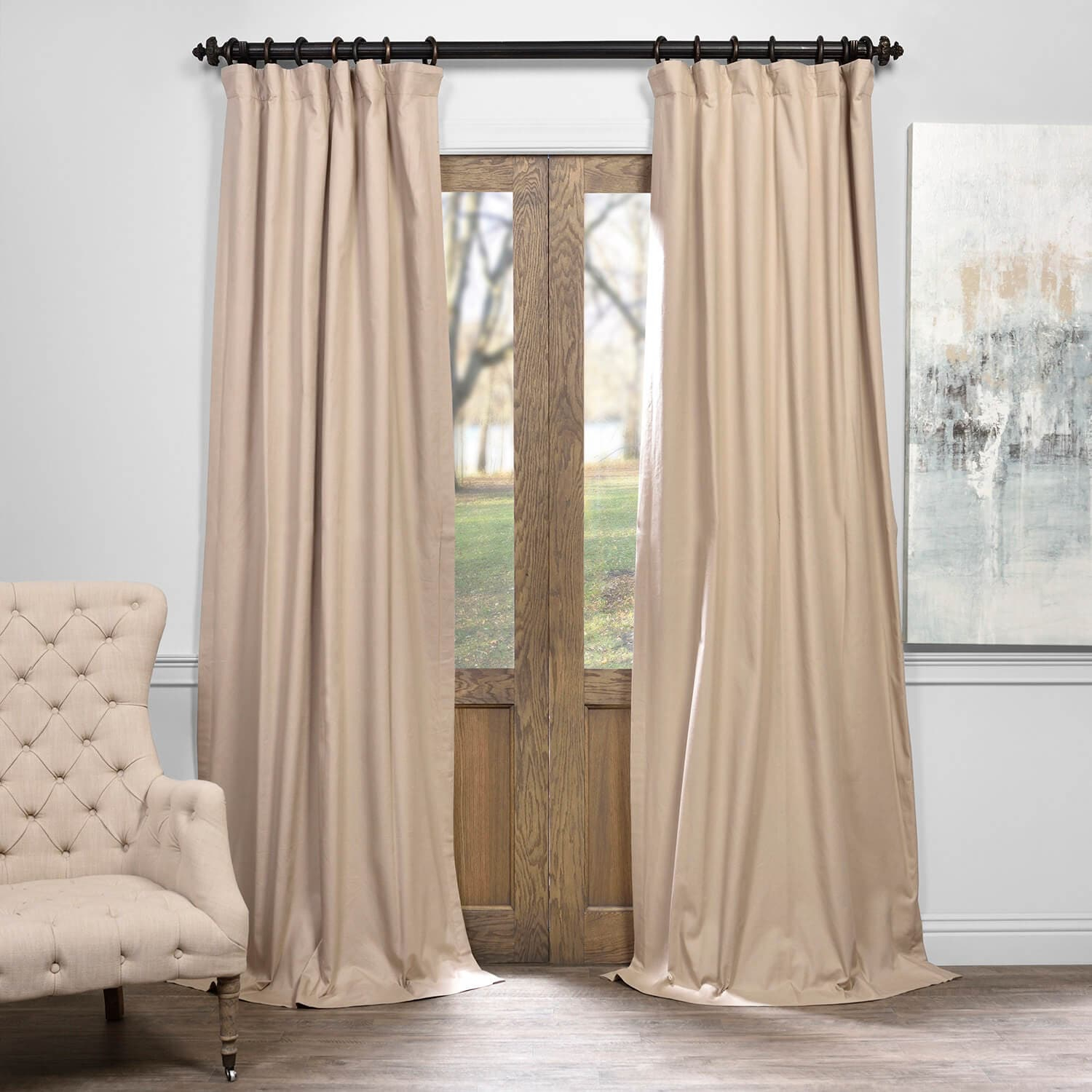 Rugged Tan Solid Cotton Blackout Curtain Throughout Signature Pinch Pleated Blackout Solid Velvet Curtain Panels (View 29 of 36)