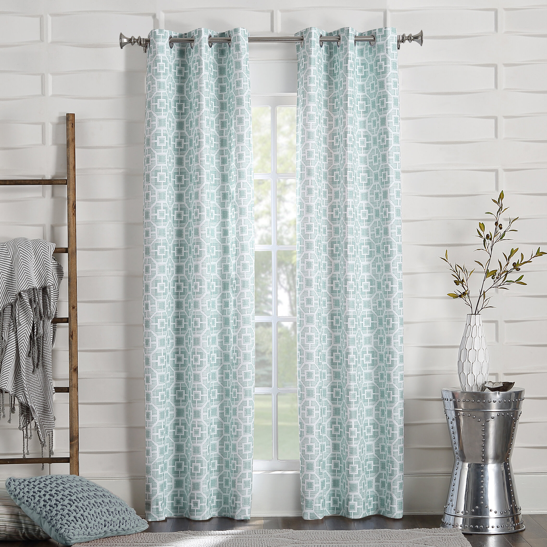 Sachiko Geometric Room Darkening Thermal Grommet Curtain Panels Pertaining To Thermal Woven Blackout Grommet Top Curtain Panel Pairs (View 14 of 30)