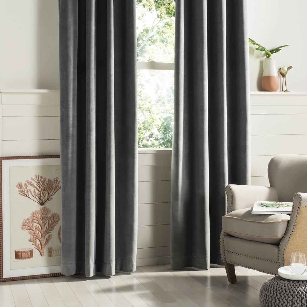 """Safavieh Edessa 84 Inch Single Curtain Panel – 84"""" L X 52"""" W Regarding Luxury Collection Faux Leather Blackout Single Curtain Panels (View 12 of 20)"""