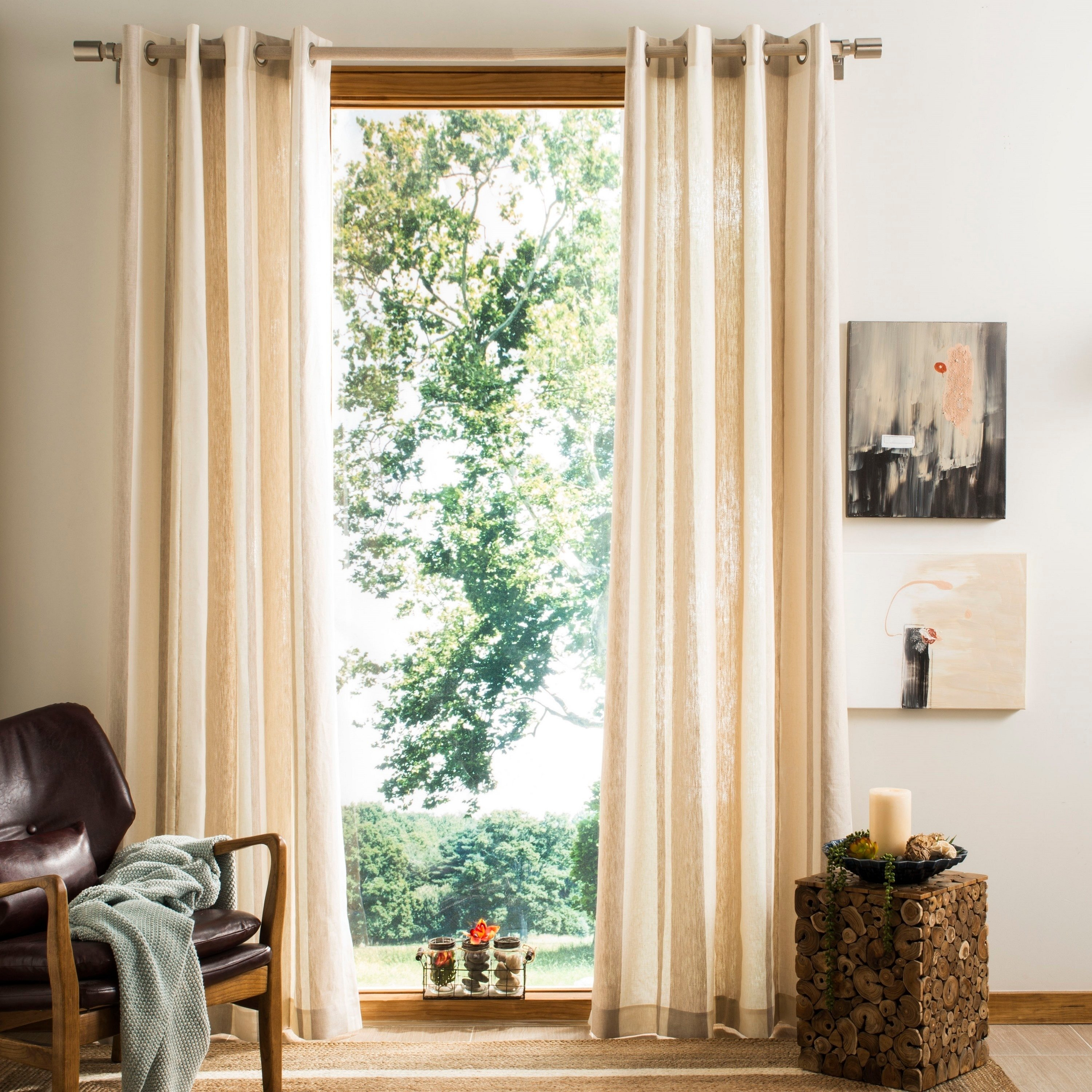 """Safavieh Vari Window Panel Natural – 96"""" L X 52"""" W, Natural In Solid Country Cotton Linen Weave Curtain Panels (View 24 of 30)"""