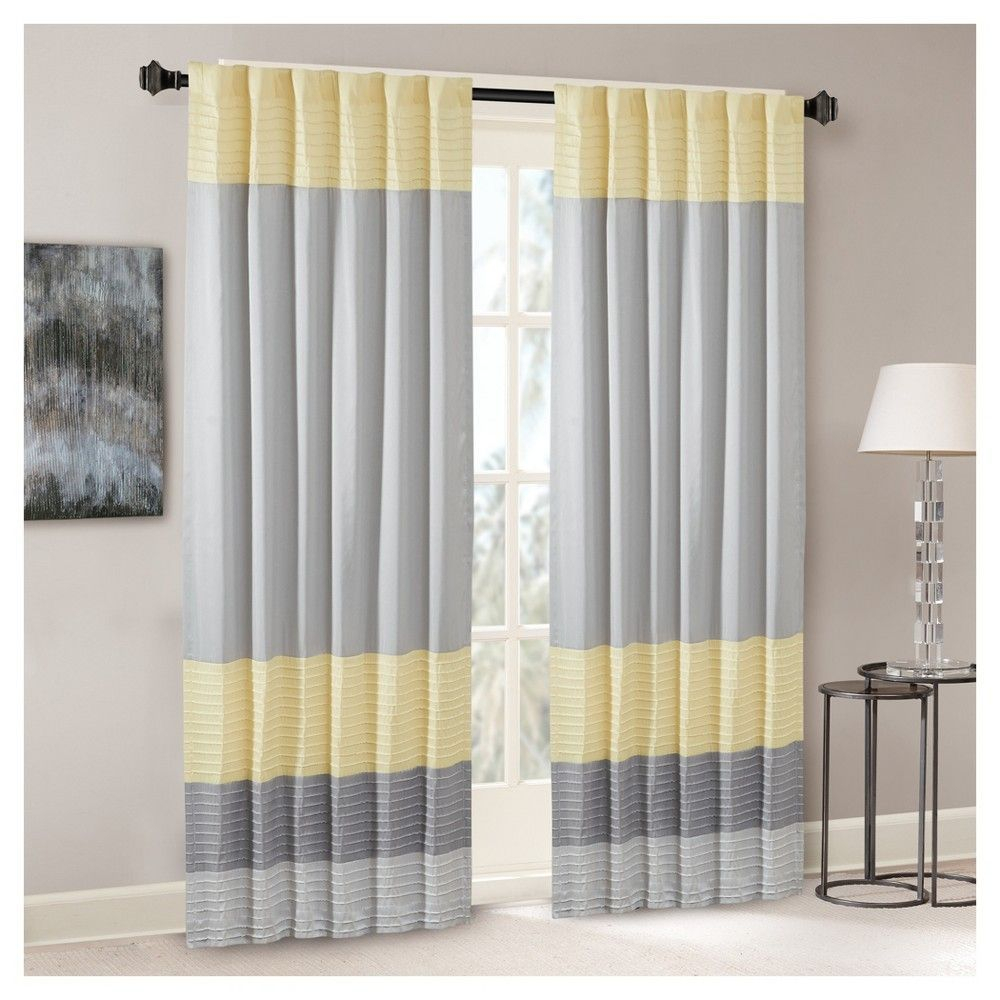 "Salem Polyoni Pintuck Curtain Panel Black (50""x84 Within Chester Polyoni Pintuck Curtain Panels (View 10 of 20)"