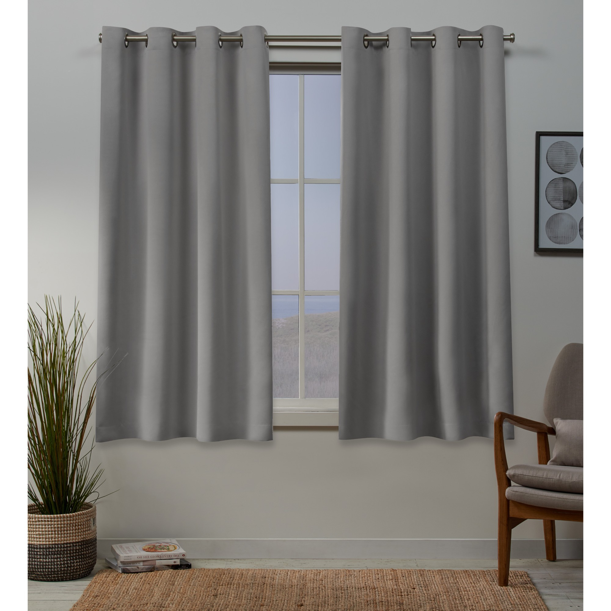 Sateen Woven Blackout Grommet Top Window Curtain Panel Pair Intended For Woven Blackout Curtain Panel Pairs With Grommet Top (View 21 of 30)