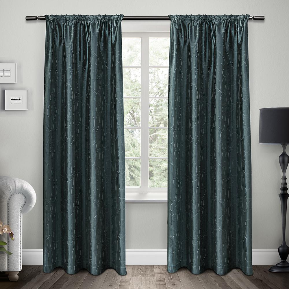 Saturn Cobalt Blue Embroidered Rod Pocket Top Window Curtain In Ombre Embroidery Curtain Panels (View 5 of 20)