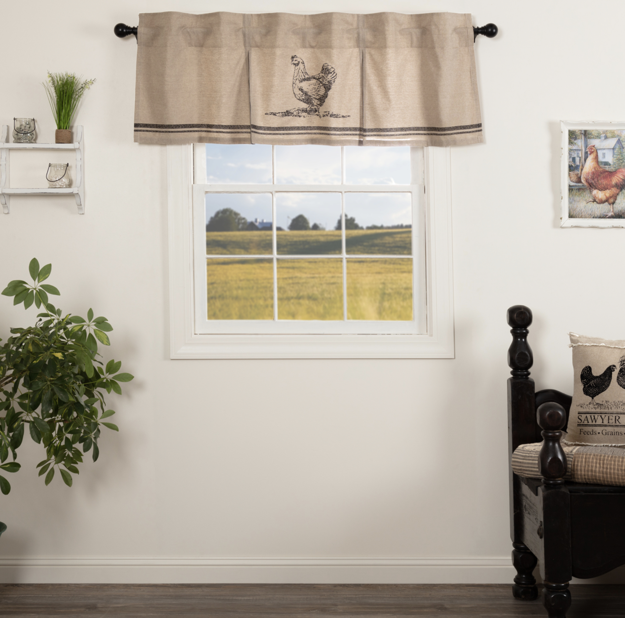 Sawyer Mill Charcoal Chicken Valance Pleated | Nana's Farmhouse Regarding Solid Cotton Pleated Curtains (View 28 of 30)