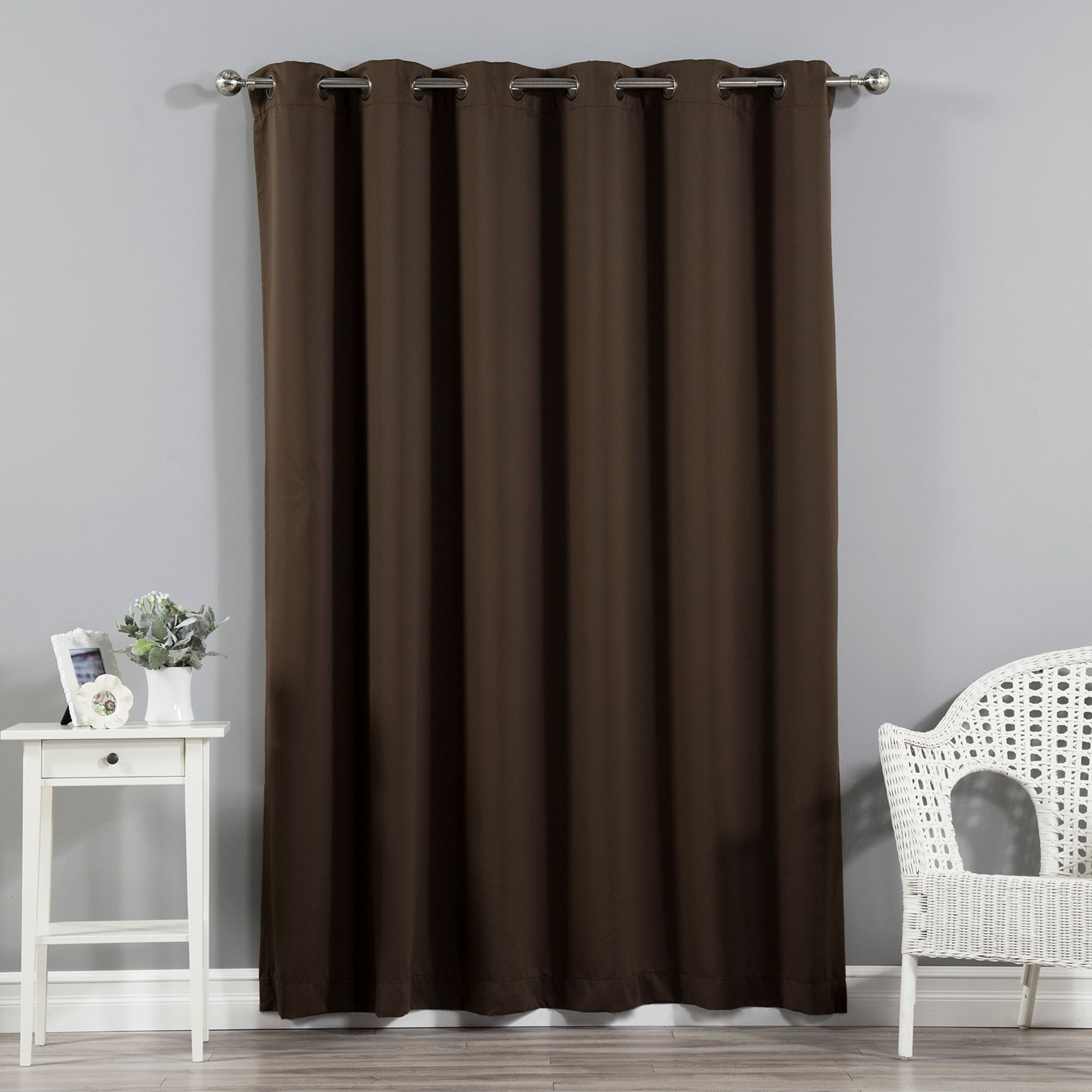 Scarsdale Extra Solid Blackout Thermal Grommet Single Inside Faux Silk Extra Wide Blackout Single Curtain Panels (View 12 of 20)