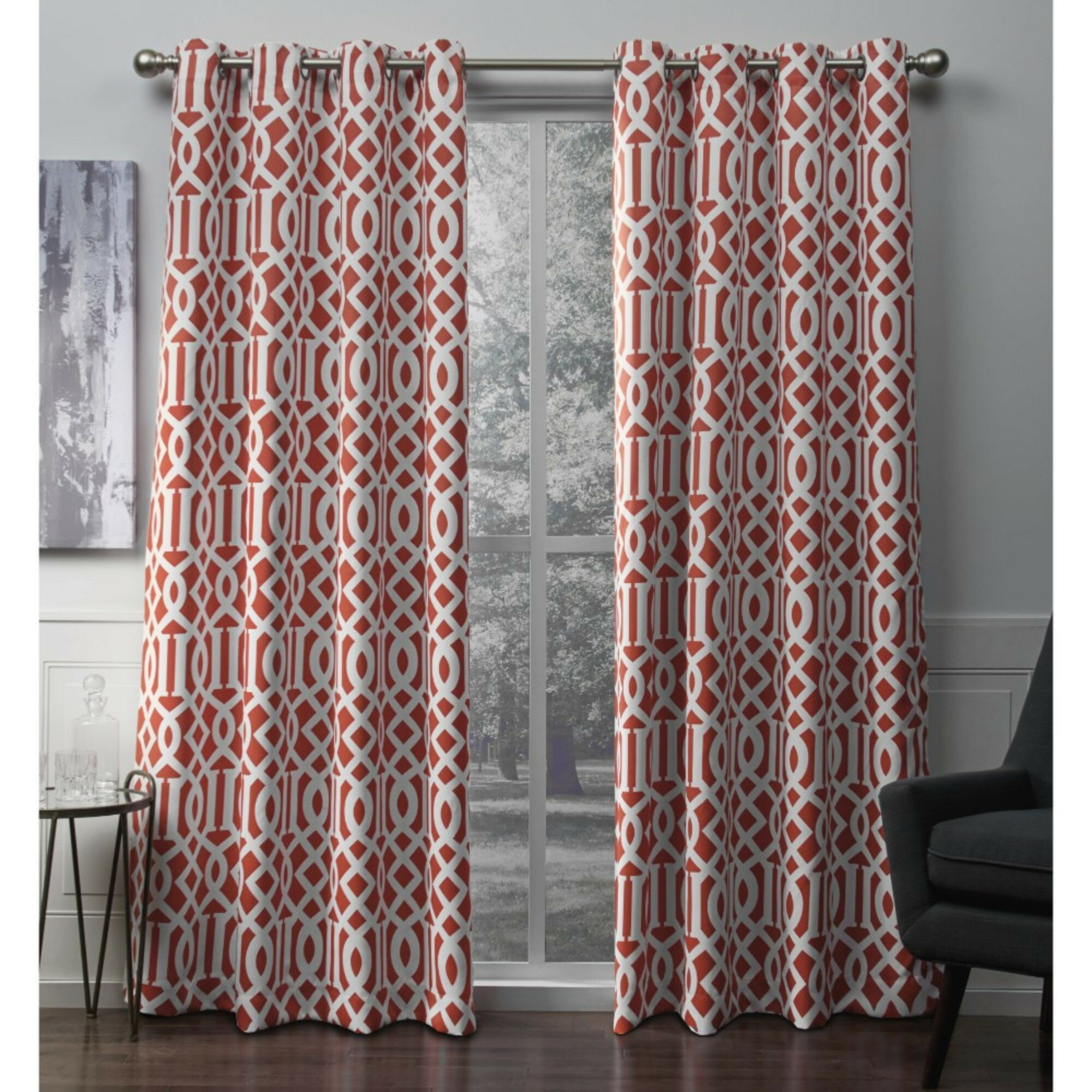 Scrollwork Geometric Blackout Thermal Grommet Curtain Panels For Woven Blackout Curtain Panel Pairs With Grommet Top (View 22 of 30)