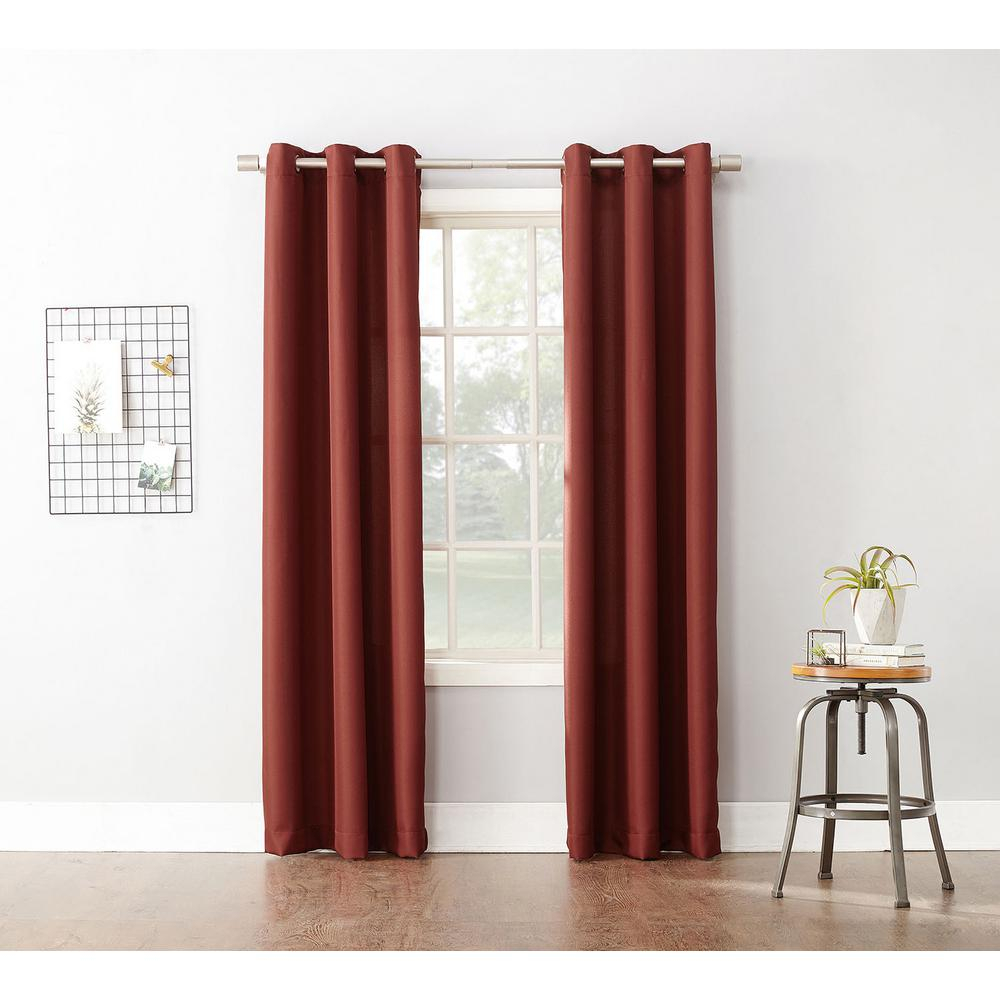 Semi Opaque Paprika No. 918 Casual Montego Woven Grommet Top Curtain Panel, 48 In. W X 63 In (View 19 of 20)