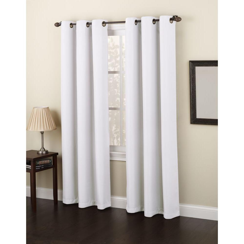Semi Opaque White No. 918 Casual Montego Woven Grommet Top Curtain Panel, 48 In. W X 63 In (View 20 of 20)