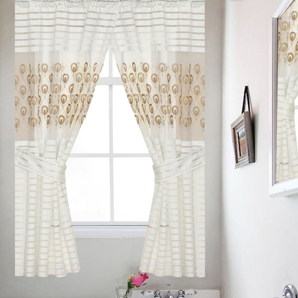 Seraphina Gold Medallion Embroidered 54 Inch Window Curtain Panel (Pair) – 36X54 Throughout Classic Hotel Quality Water Resistant Fabric Curtains Set With Tiebacks (View 17 of 20)