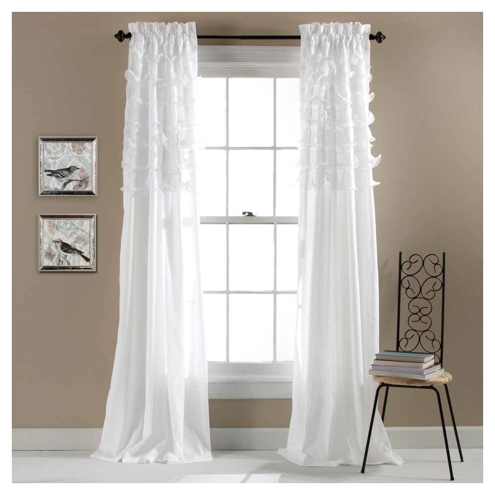 """Set Of 2 Avery Window Curtain White (84""""x54"""") – Lush Décor In Lydia Ruffle Window Curtain Panel Pairs (View 18 of 20)"""