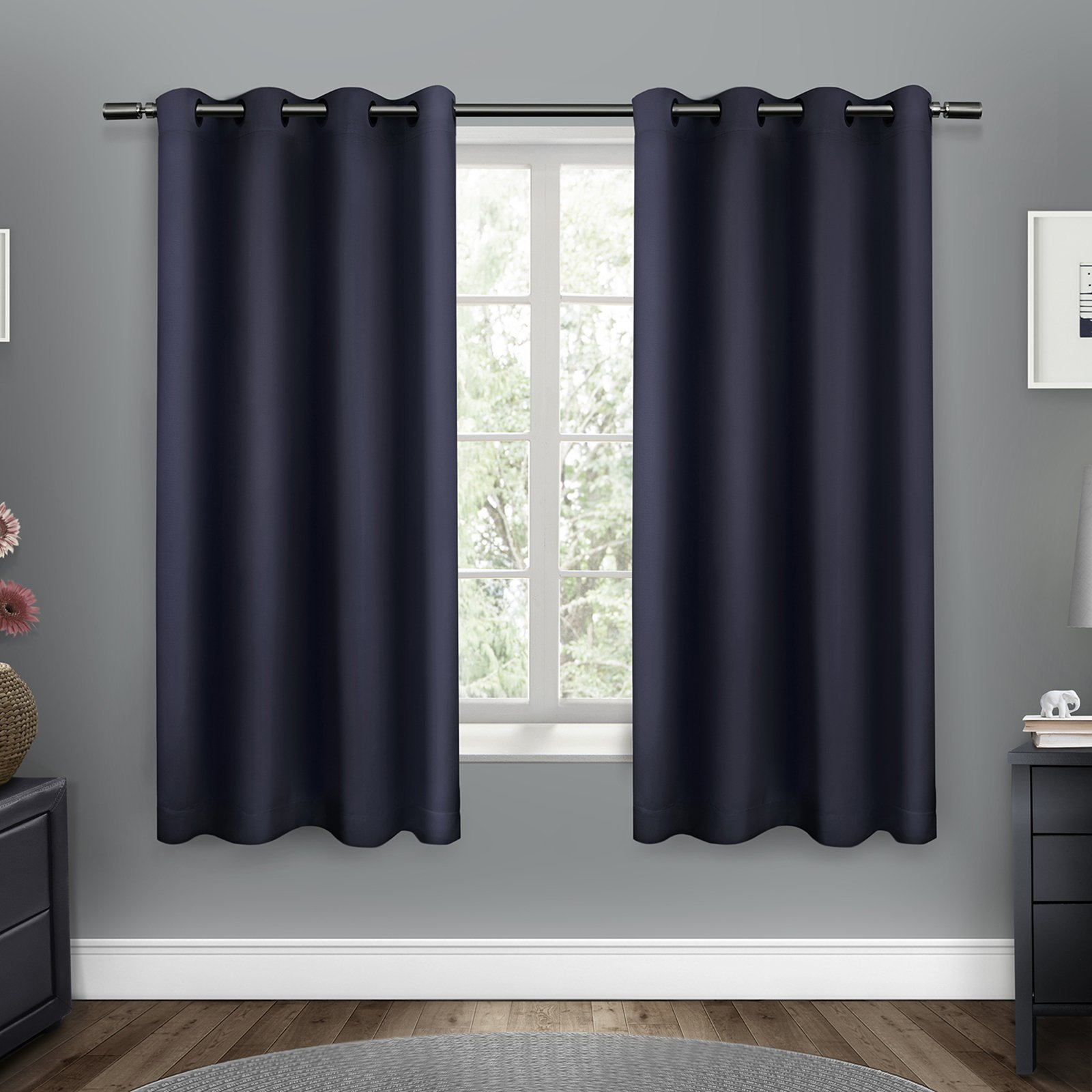 Set Of 2 Sateen Twill Weave Insulated Blackout Grommet Top Regarding Eclipse Darrell Thermaweave Blackout Window Curtain Panels (View 13 of 20)