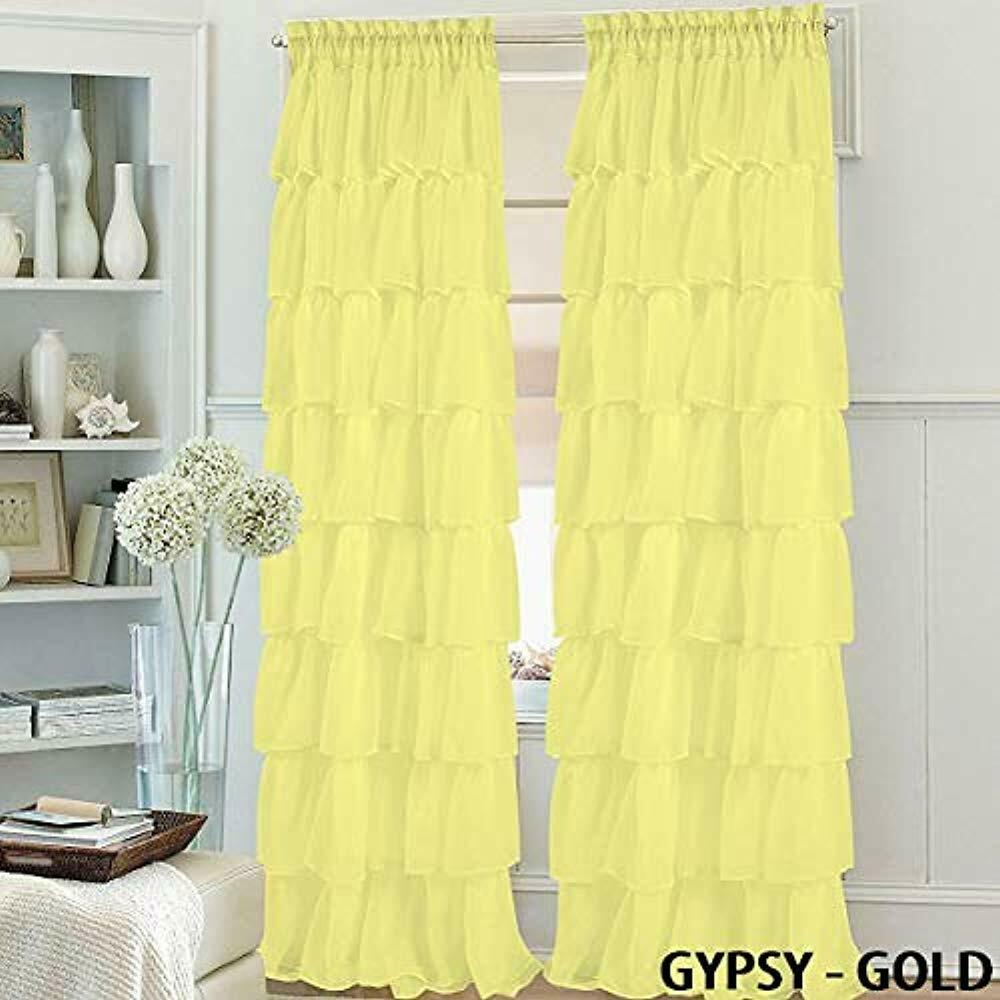 "Set Of Panels 2 Gypsy Ruffle Window Curtain 84"" Long, Semi Sheer Voile Rod With Sheer Voile Ruffled Tier Window Curtain Panels (View 17 of 20)"