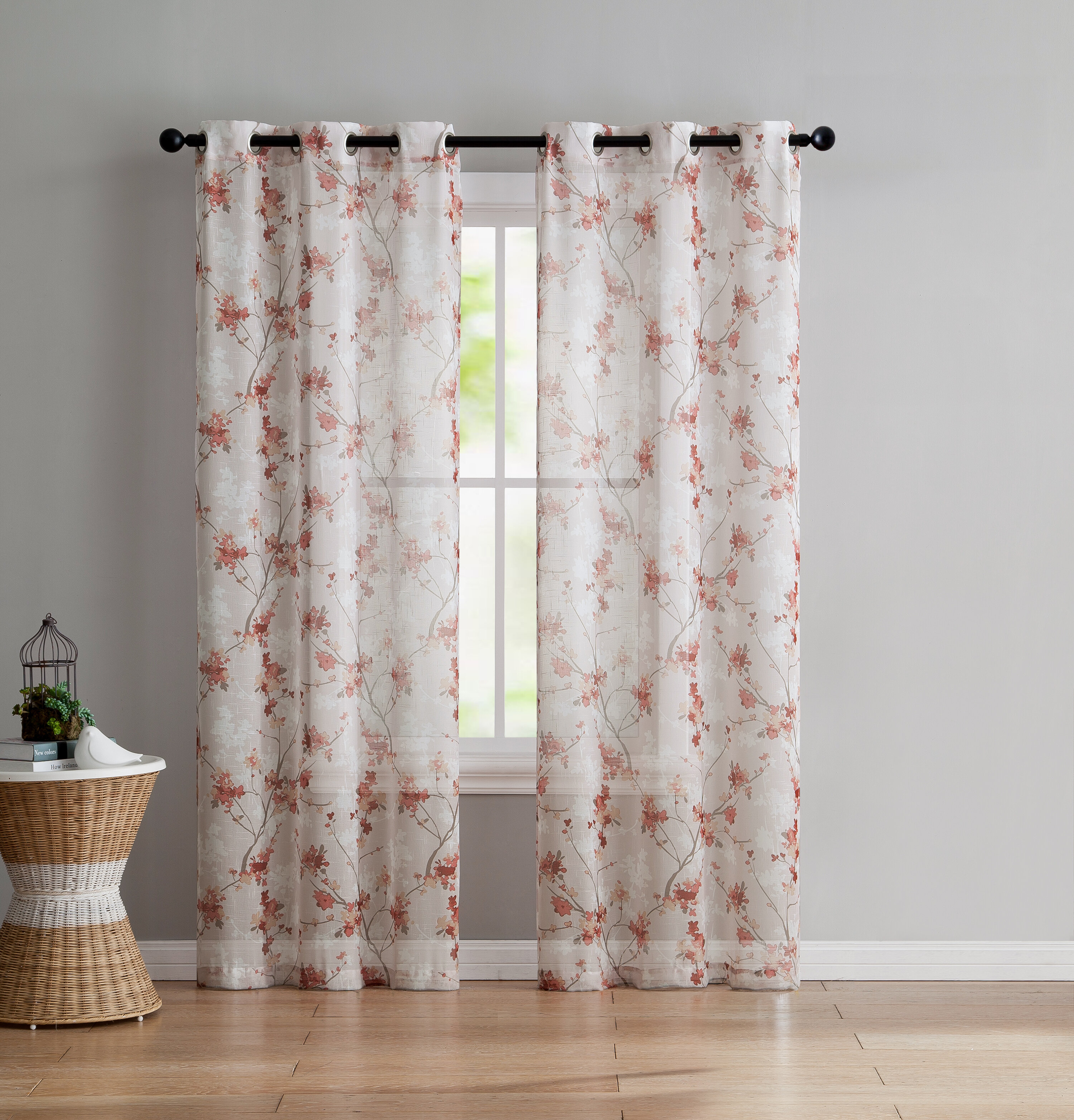 Severus Nature/floral Sheer Grommet Curtain Panels Inside Wavy Leaves Embroidered Sheer Extra Wide Grommet Curtain Panels (View 19 of 30)