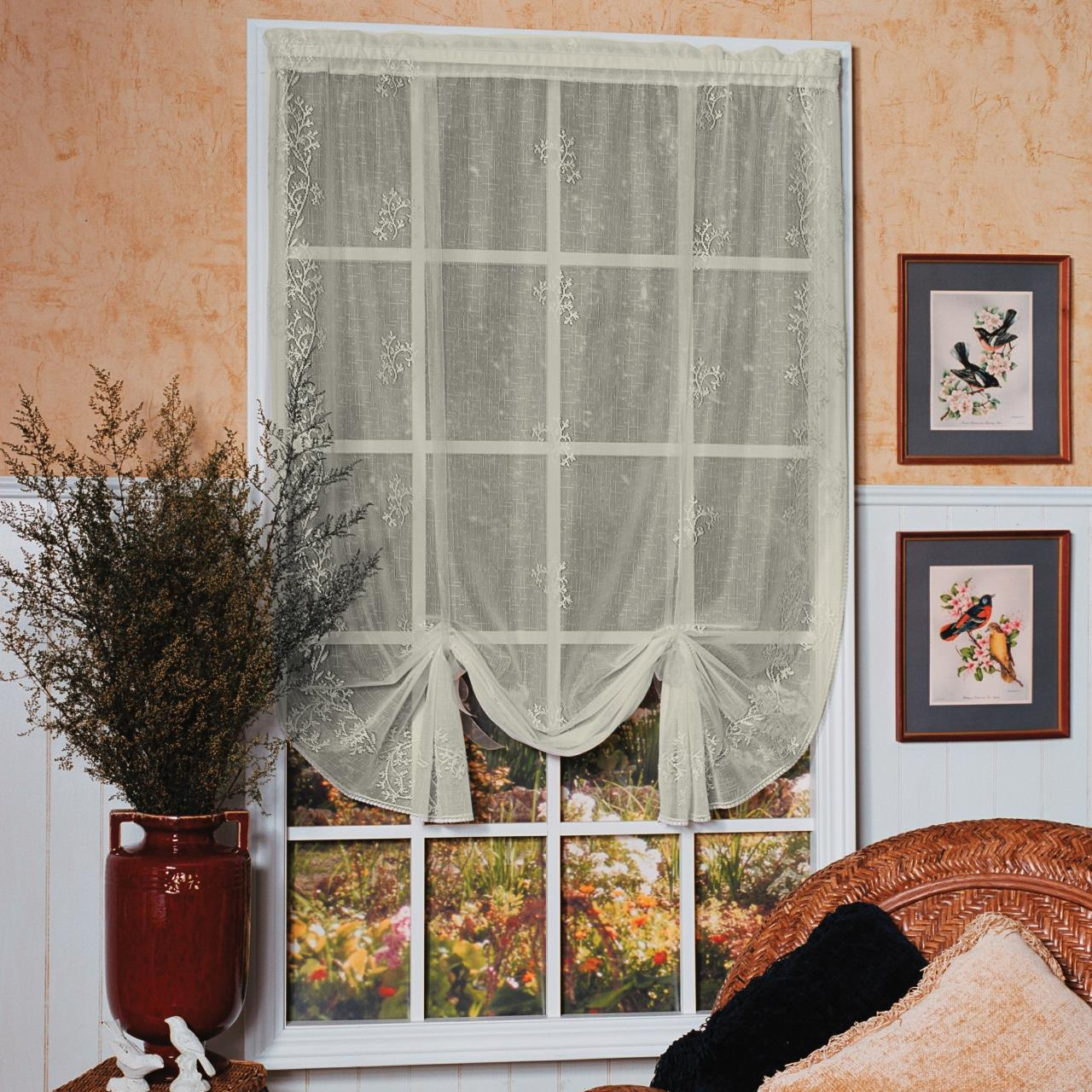 Sheer Divine Lace Drape Shade Within Prescott Insulated Tie Up Window Shade (View 10 of 20)