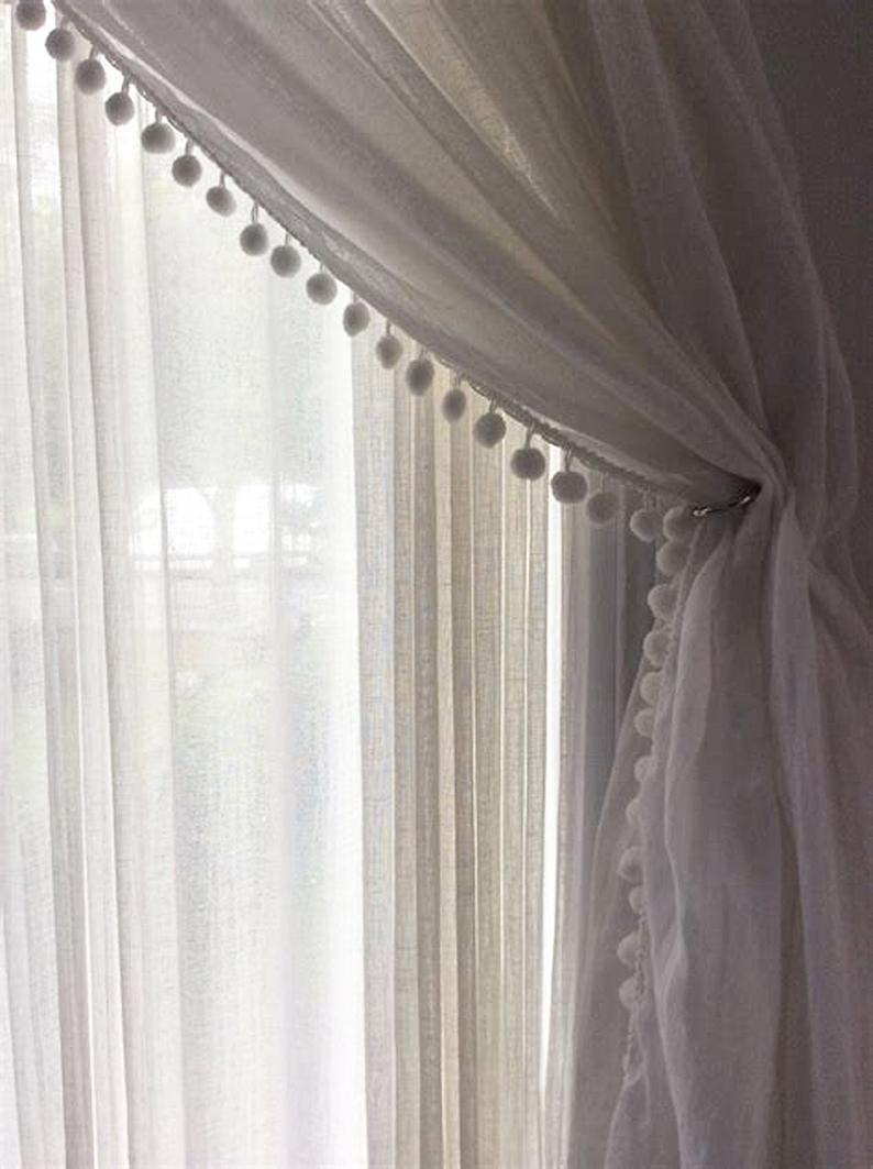 Sheer Ivory Linen Curtain With Pom Pom Trim, Rod Pocket Style, European Flax, Long Or Short Length, Within Tassels Applique Sheer Rod Pocket Top Curtain Panel Pairs (View 27 of 30)