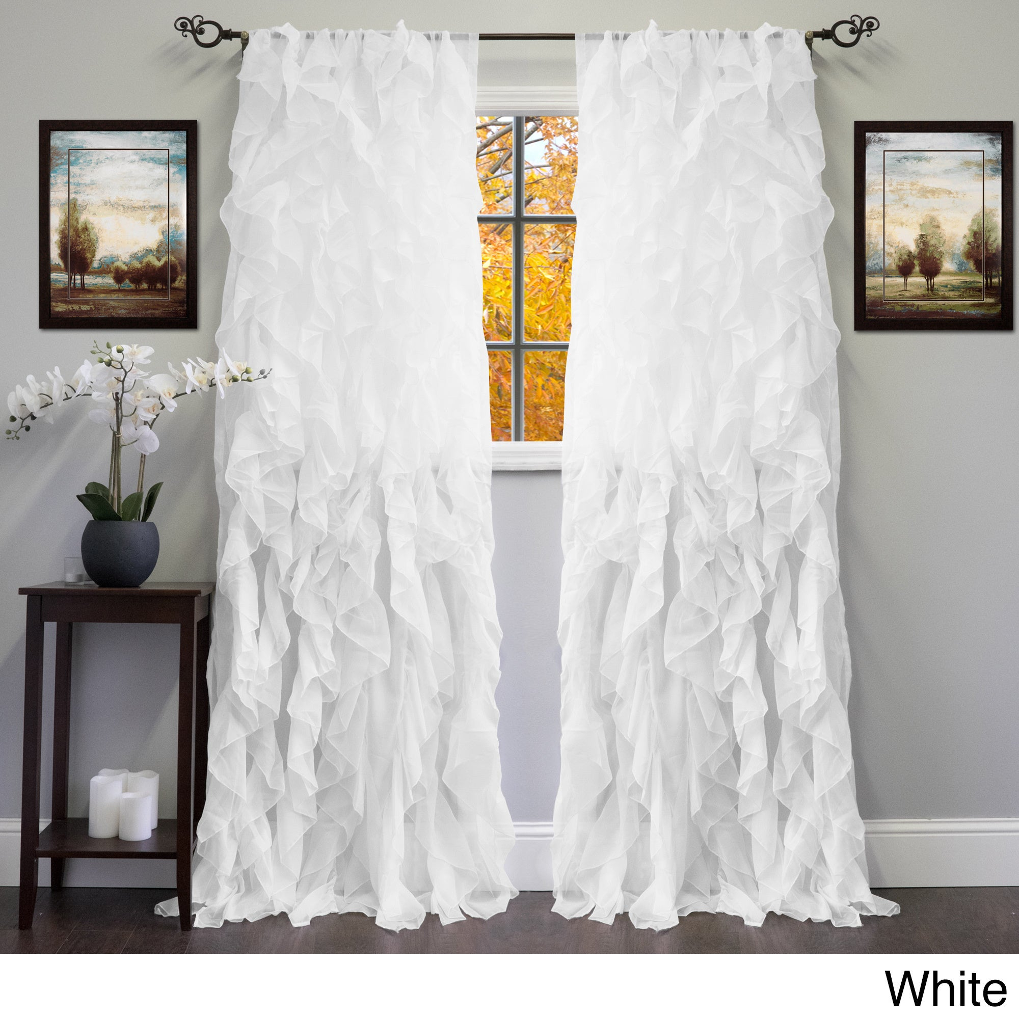 Popular Photo of Sheer Voile Ruffled Tier Window Curtain Panels