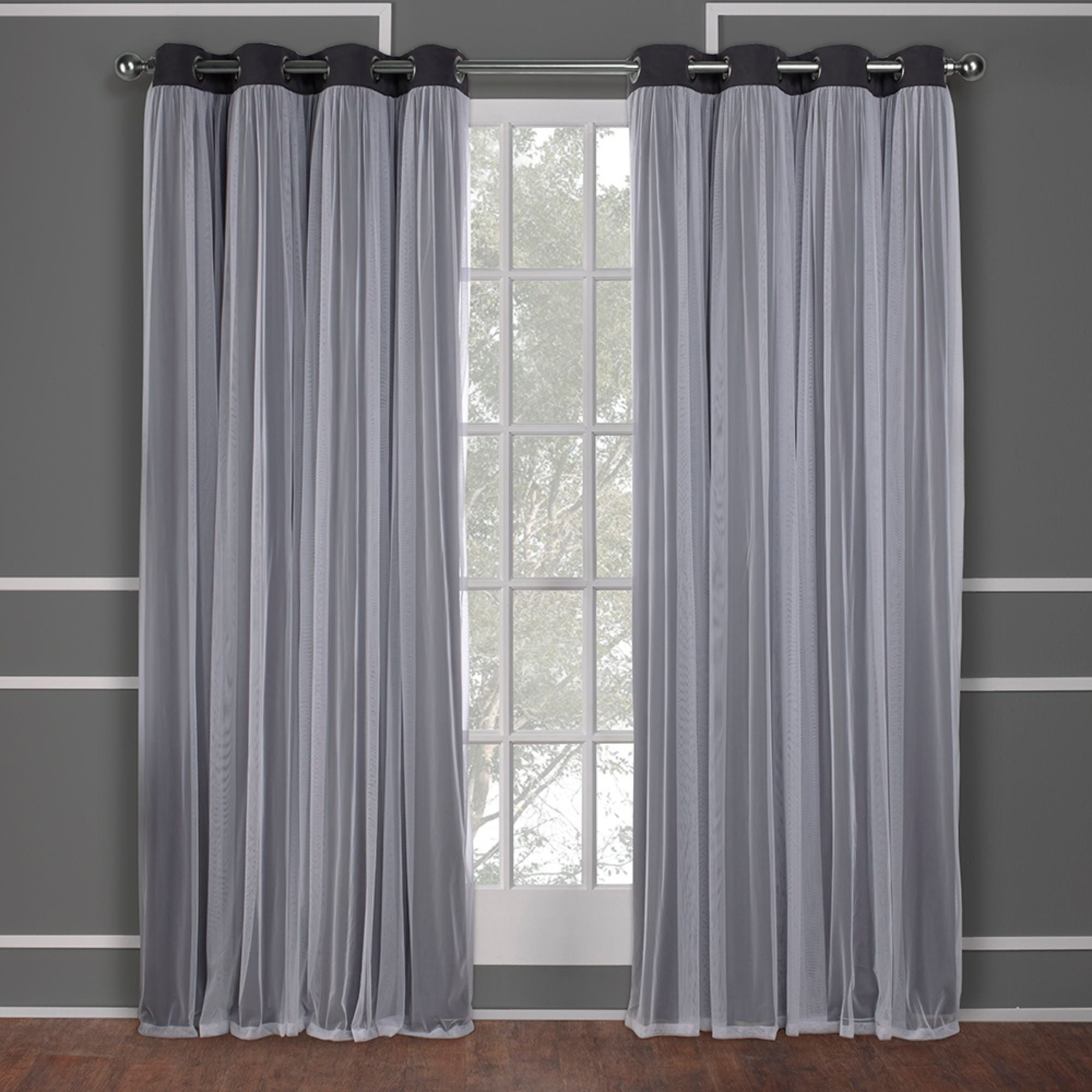 Shop Ati Home Catarina Layered Curtain Panel Pair With With Regard To Catarina Layered Curtain Panel Pairs With Grommet Top (View 5 of 20)
