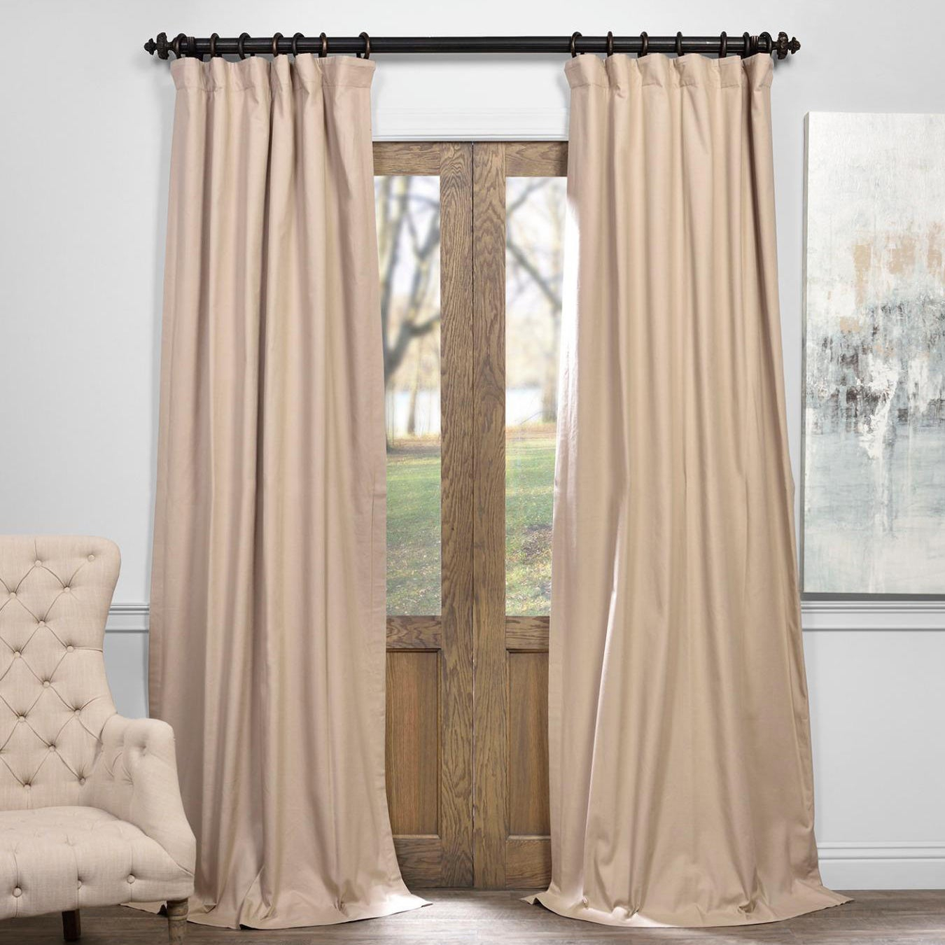Shop Exclusive Fabrics Solid Cotton True Blackout Curtain Within Solid Cotton True Blackout Curtain Panels (View 2 of 30)
