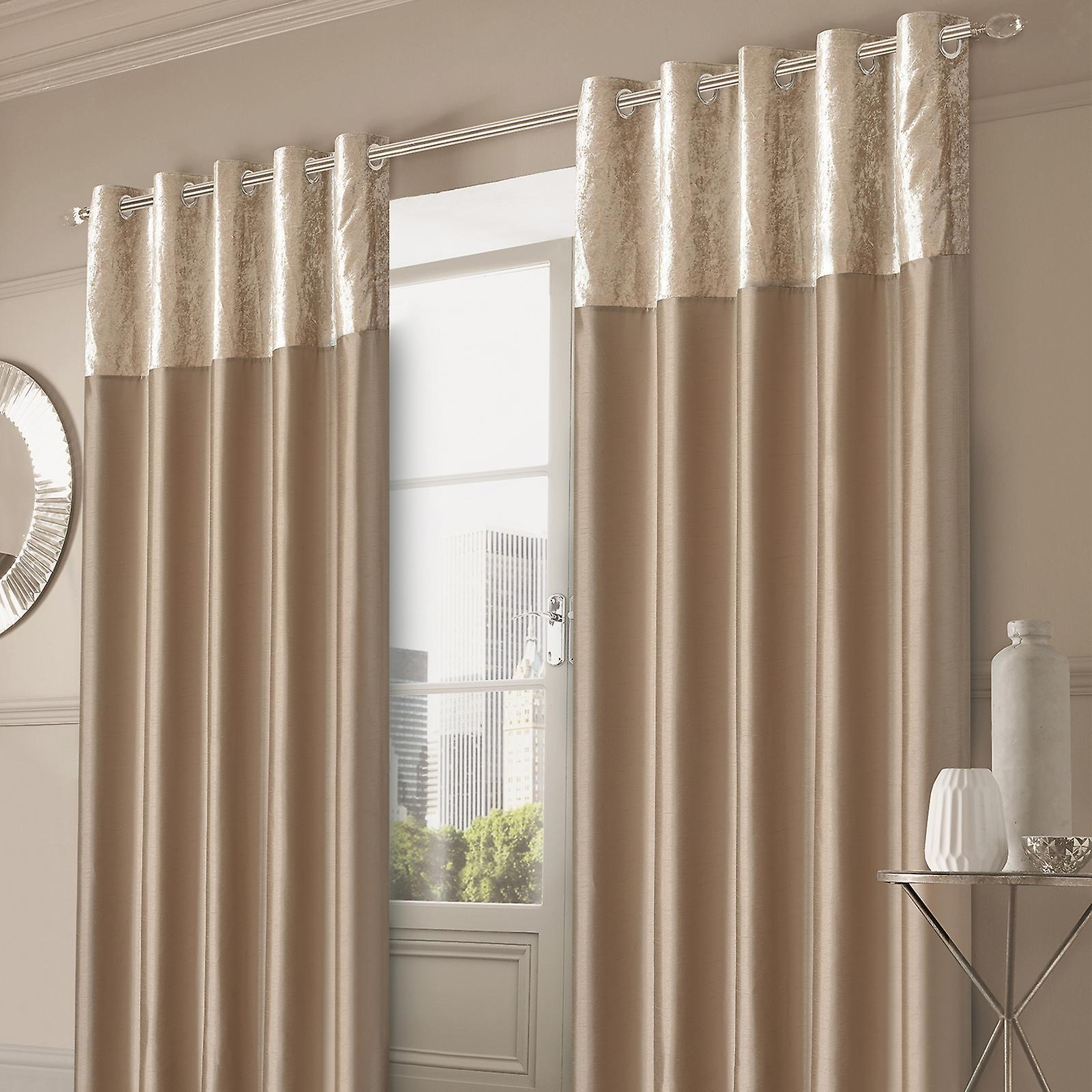 Sienna Crushed Velvet Band Curtains Pair Eyelet Faux Silk Fully Lined Ring Top With Regard To Velvet Heavyweight Grommet Top Curtain Panel Pairs (View 24 of 30)