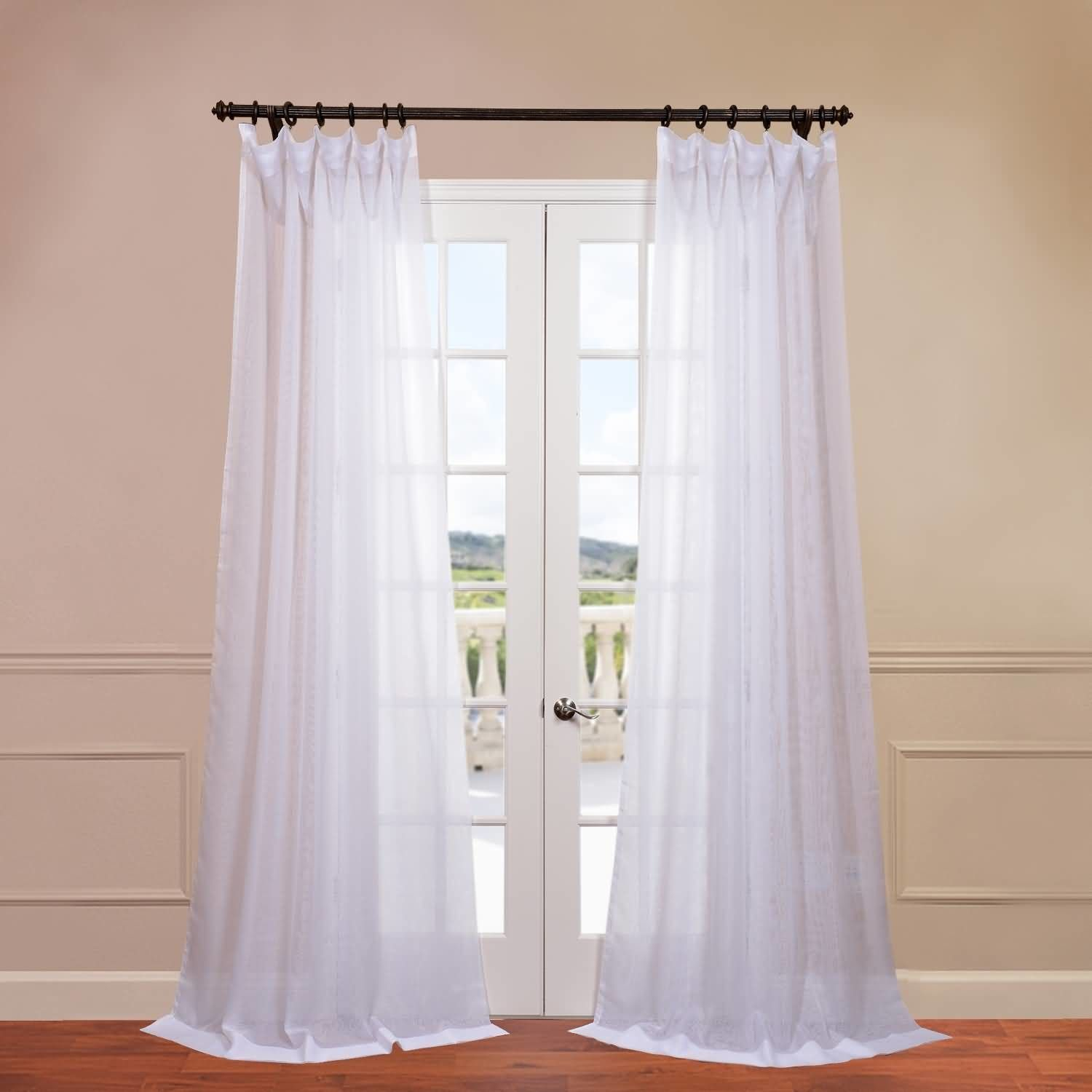 Signature Double Layered Sheer Single Curtain Panel Inside Signature White Double Layer Sheer Curtain Panels (View 4 of 30)