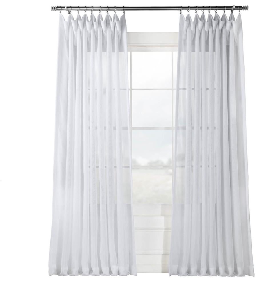 """Signature Double Wide White Sheer Curtain Single Panel, 100""""x108"""" With Regard To Tassels Applique Sheer Rod Pocket Top Curtain Panel Pairs (View 16 of 30)"""