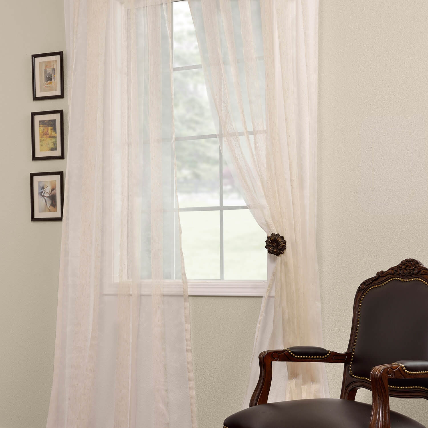 Signature Havannah Natural Striped Linen & Voile Weaved Within Signature French Linen Curtain Panels (View 29 of 30)