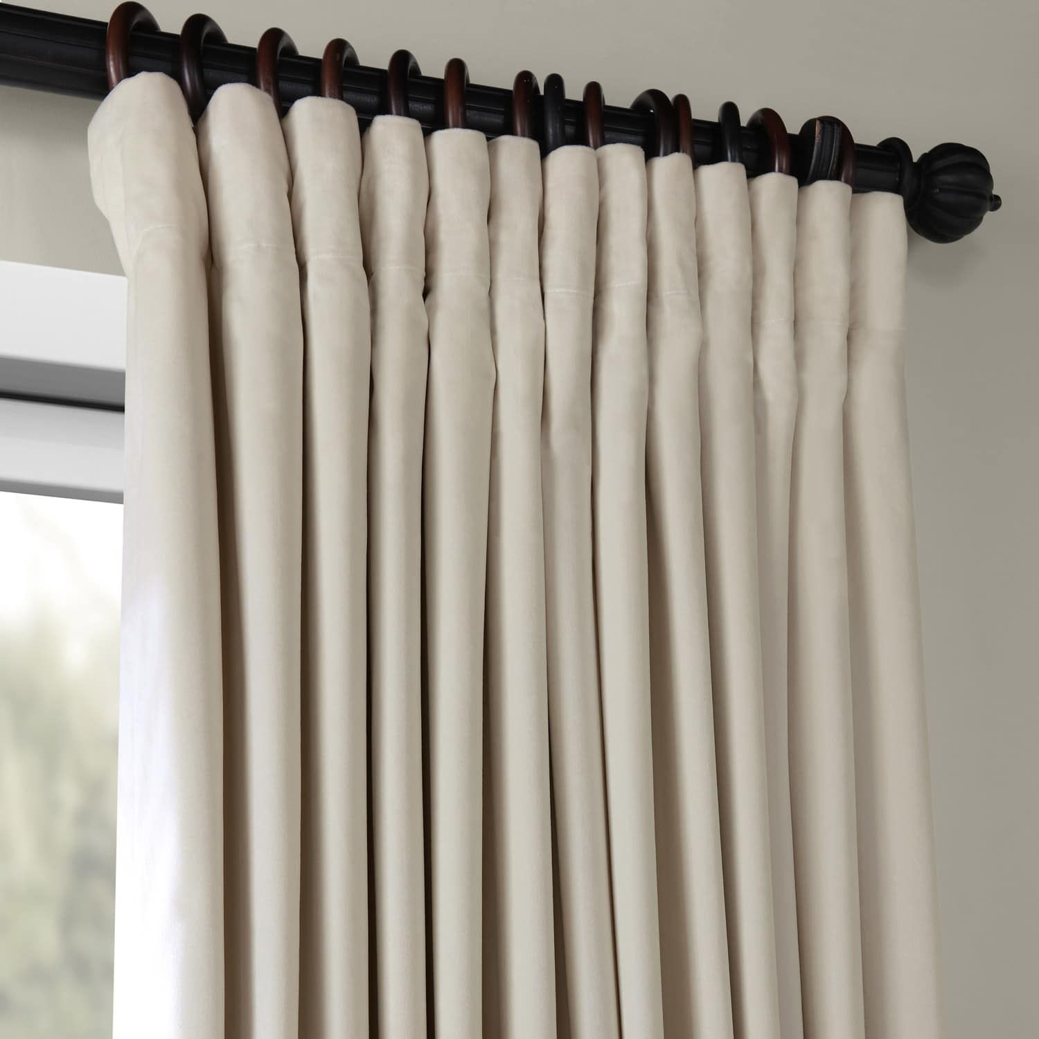 Signature Ivory Extra Wide Velvet Blackout Pole Pocket With Signature Ivory Velvet Blackout Single Curtain Panels (View 28 of 34)