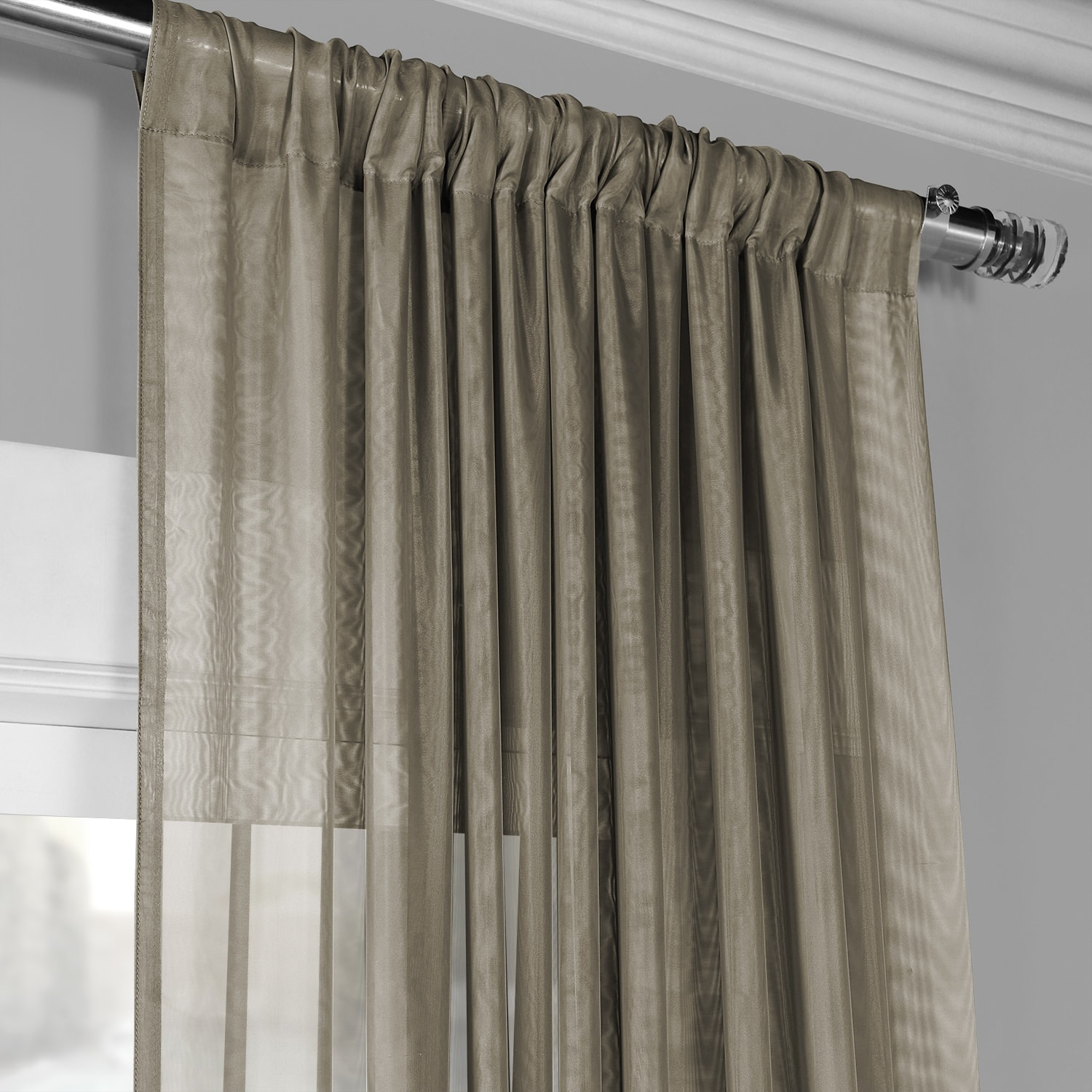 Signature Museum Grey Sheer Curtain In Signature White Double Layer Sheer Curtain Panels (View 18 of 30)