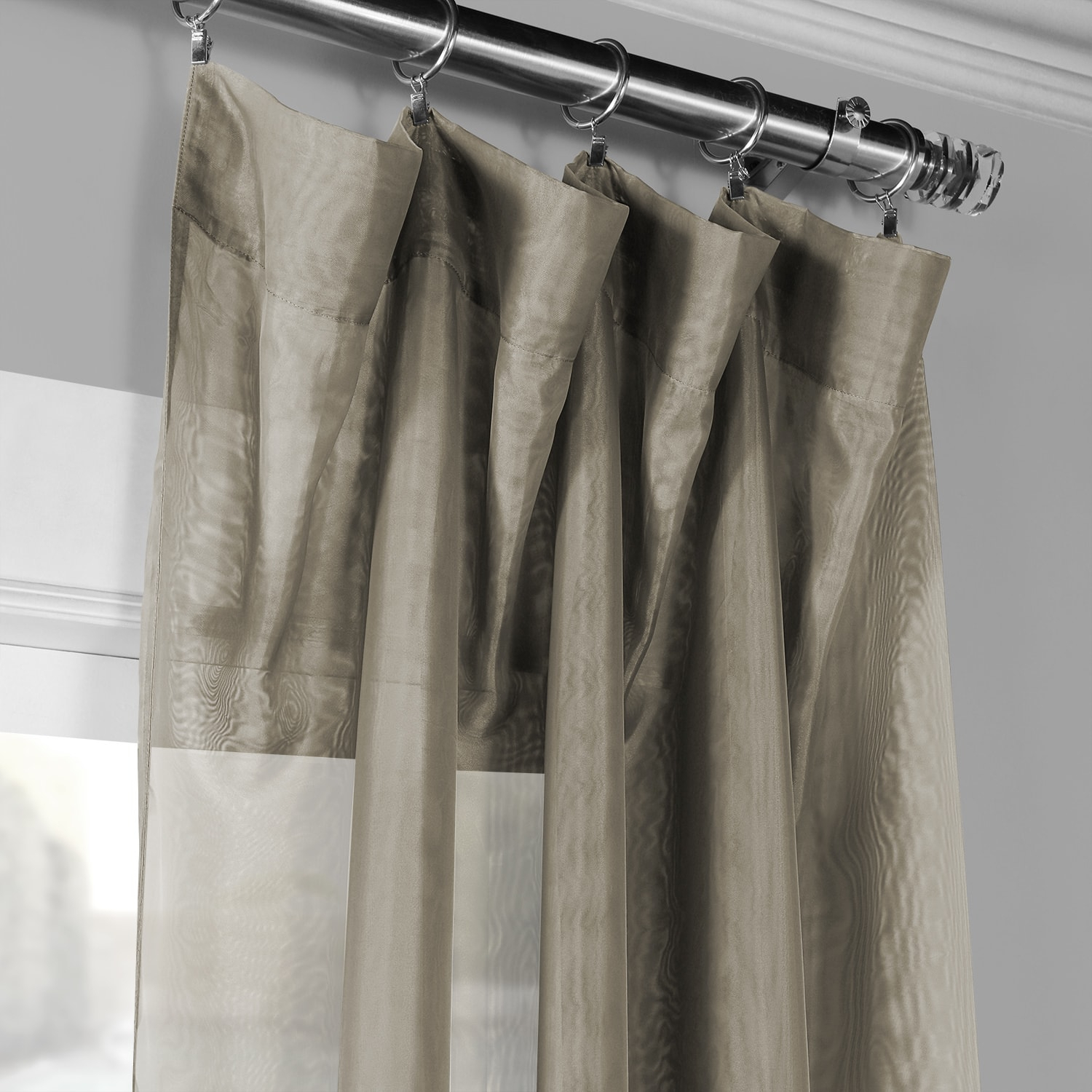 Signature Museum Grey Sheer Curtain Intended For Signature White Double Layer Sheer Curtain Panels (View 17 of 30)