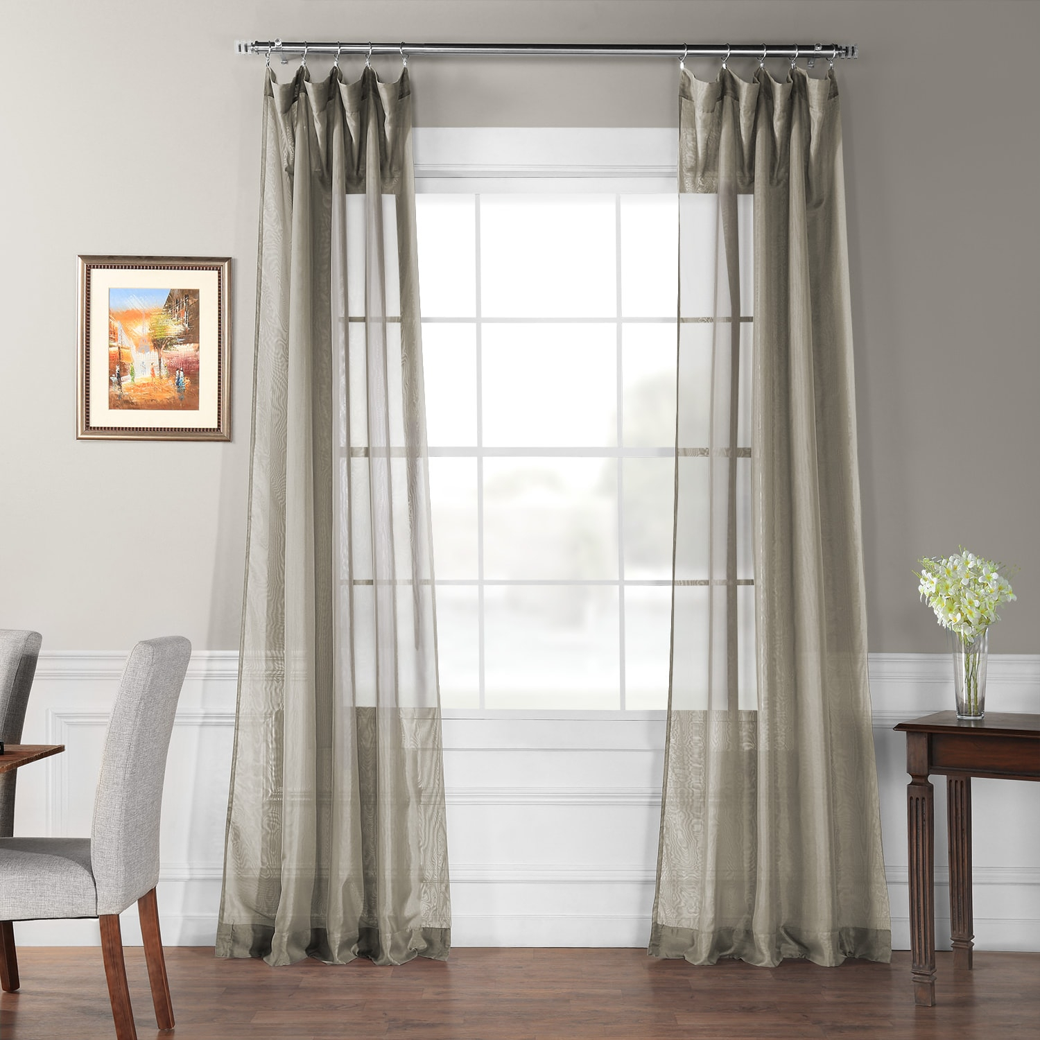 Signature Museum Grey Sheer Curtain Intended For Signature White Double Layer Sheer Curtain Panels (View 13 of 30)