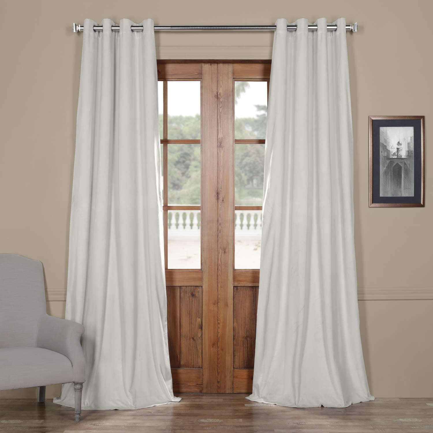 Signature Reflection Grey Grommet Blackout Velvet Curtain With Signature Blackout Velvet Curtains (View 19 of 20)