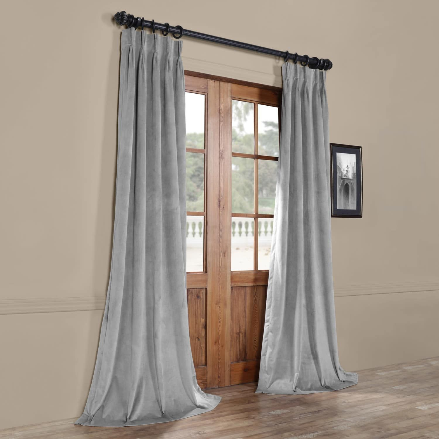 Signature Silver Grey Pleated Blackout Velvet Curtain With Velvet Dream Silver Curtain Panel Pairs (View 16 of 31)